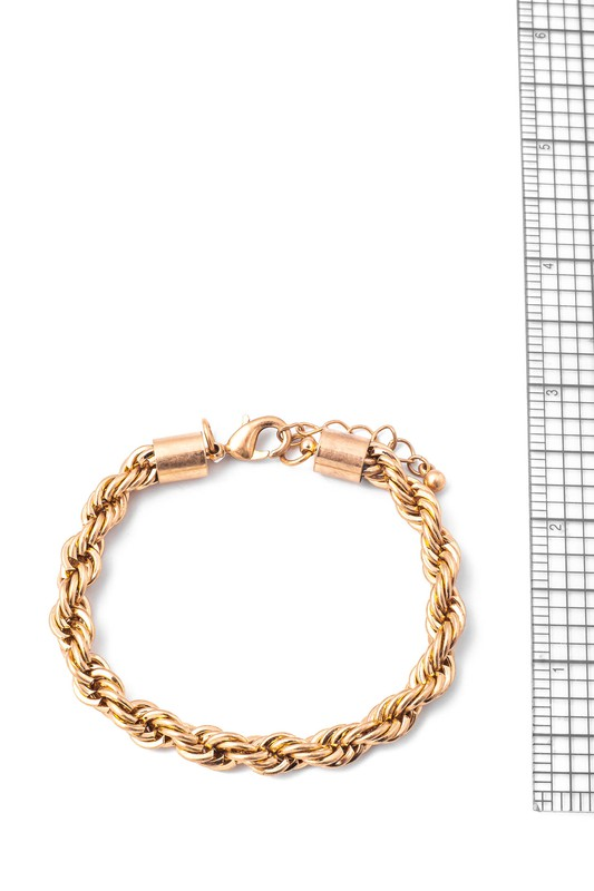 Prue Gold Metallic Braided Chain Bracelet