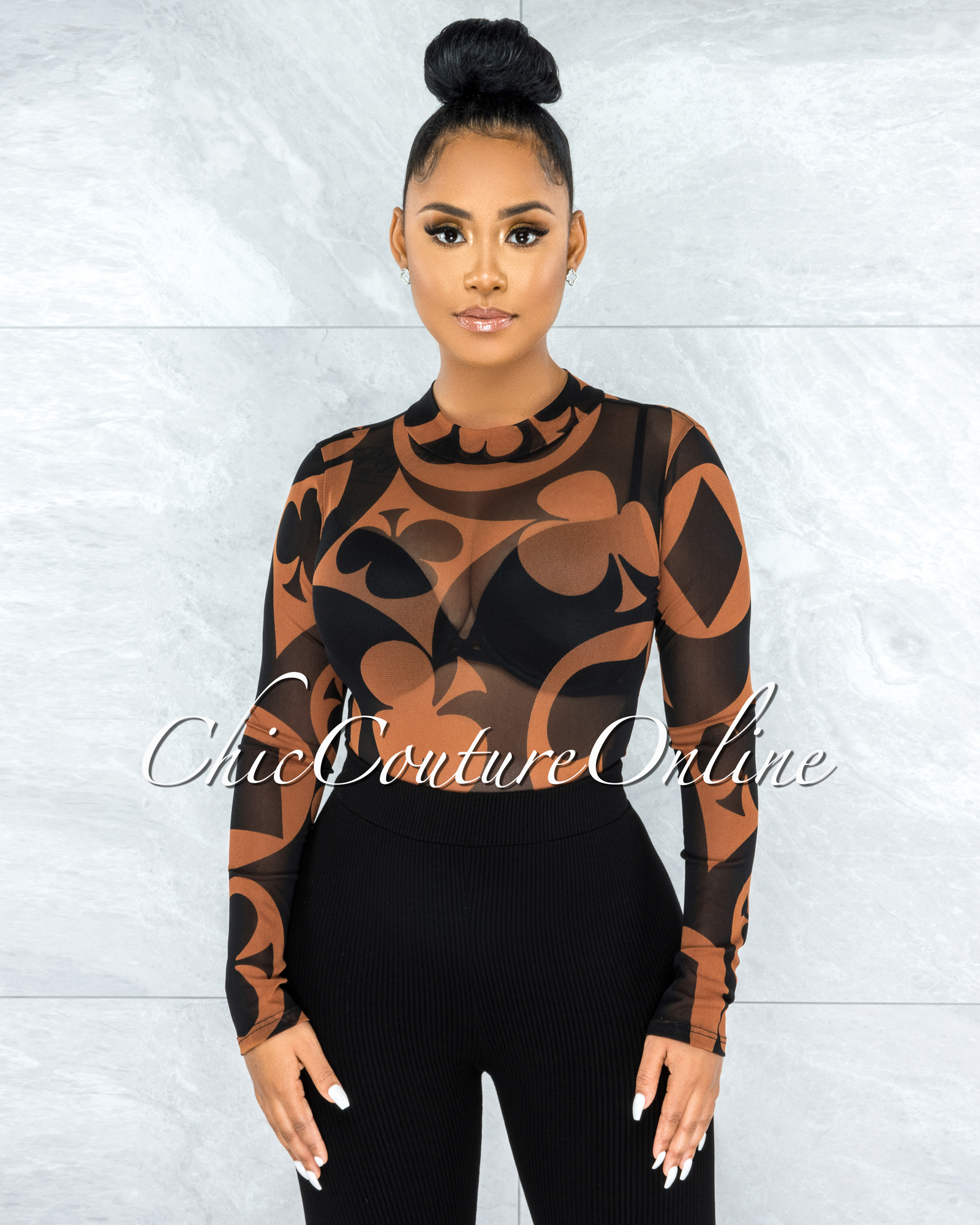 Barajas Rust Black Print Mesh Sheer Bodysuit