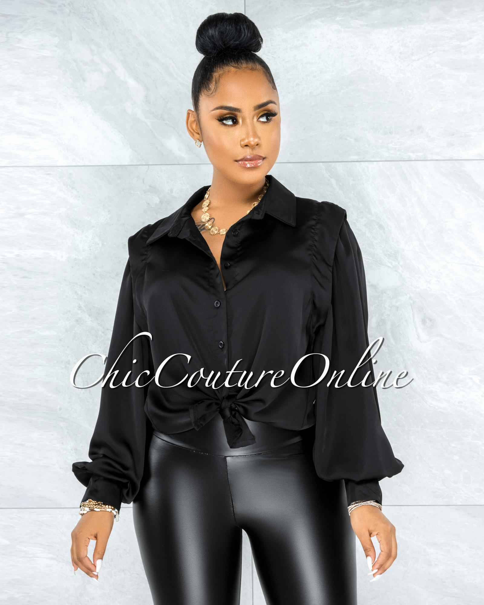 Laken Black Vest Illusion Satin Buttoned Blouse