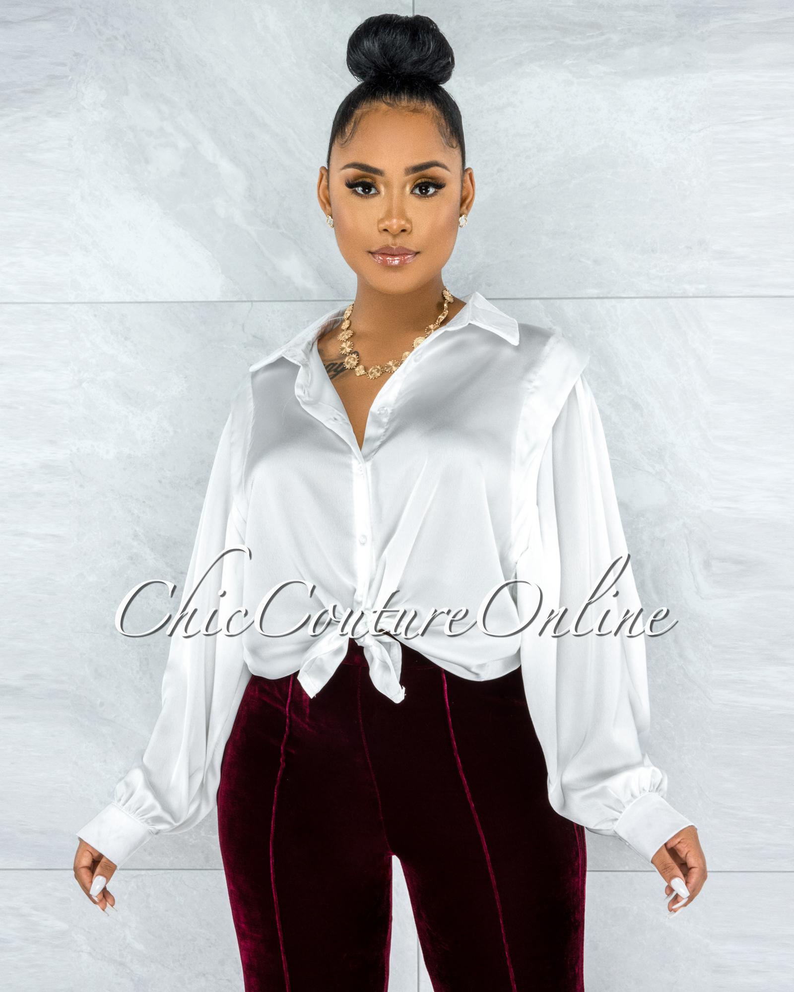 Laken Off-White Vest Illusion Satin Buttoned Blouse