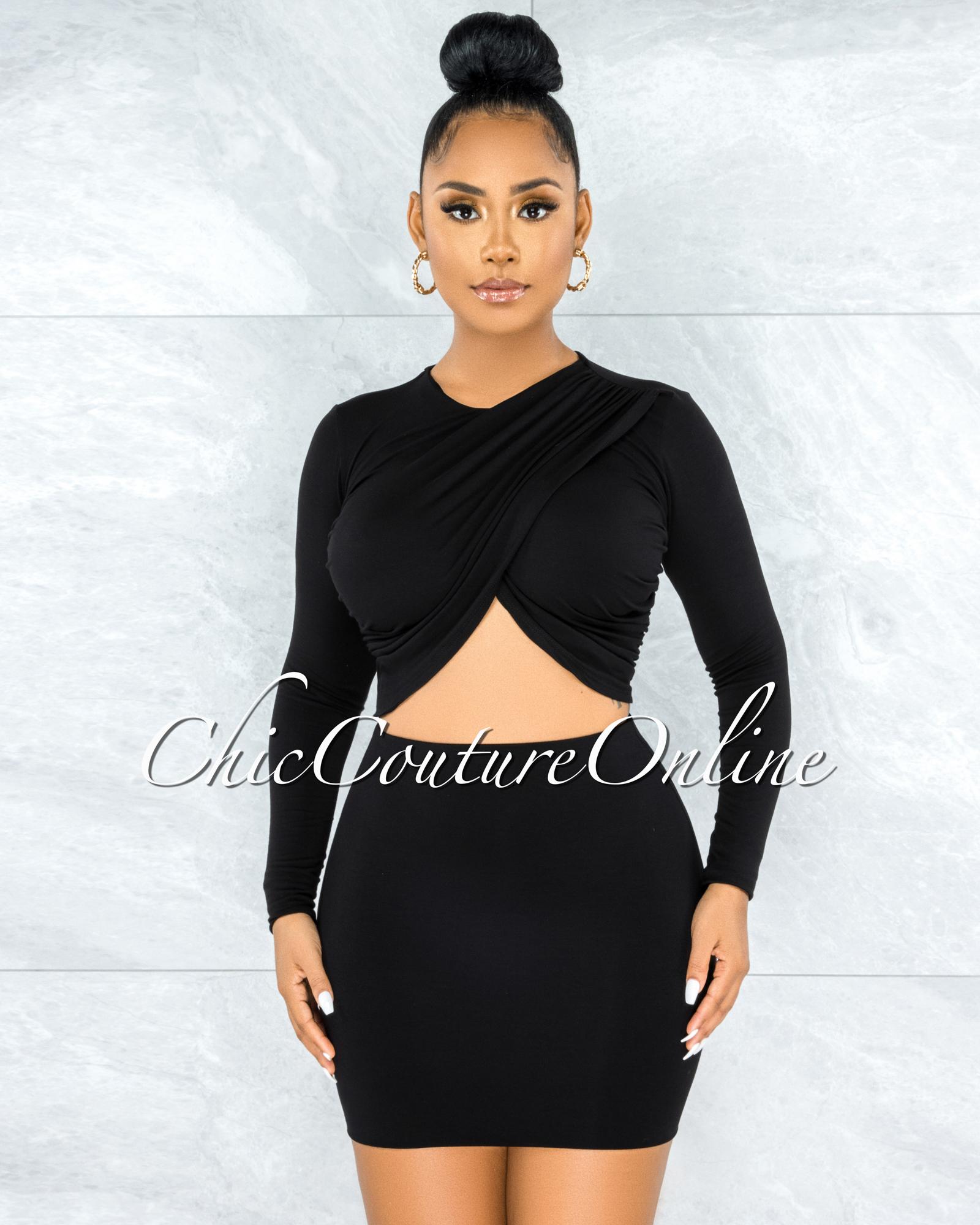 Pulika Black Drap Crossed Top & Double Line Skirt Set