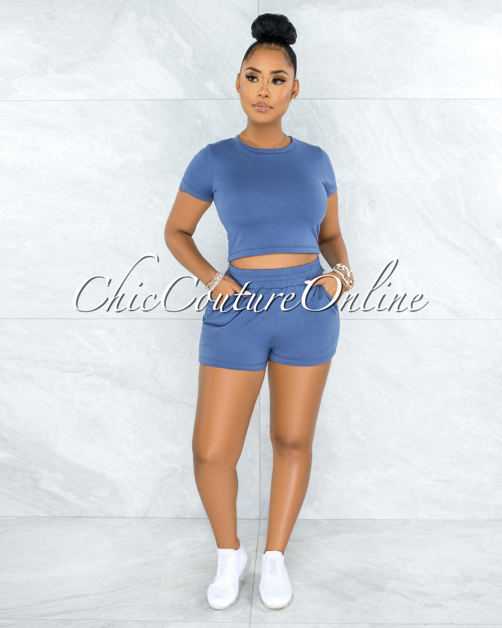 Tabia Periwinkle Blue Mini Shorts & Top Set