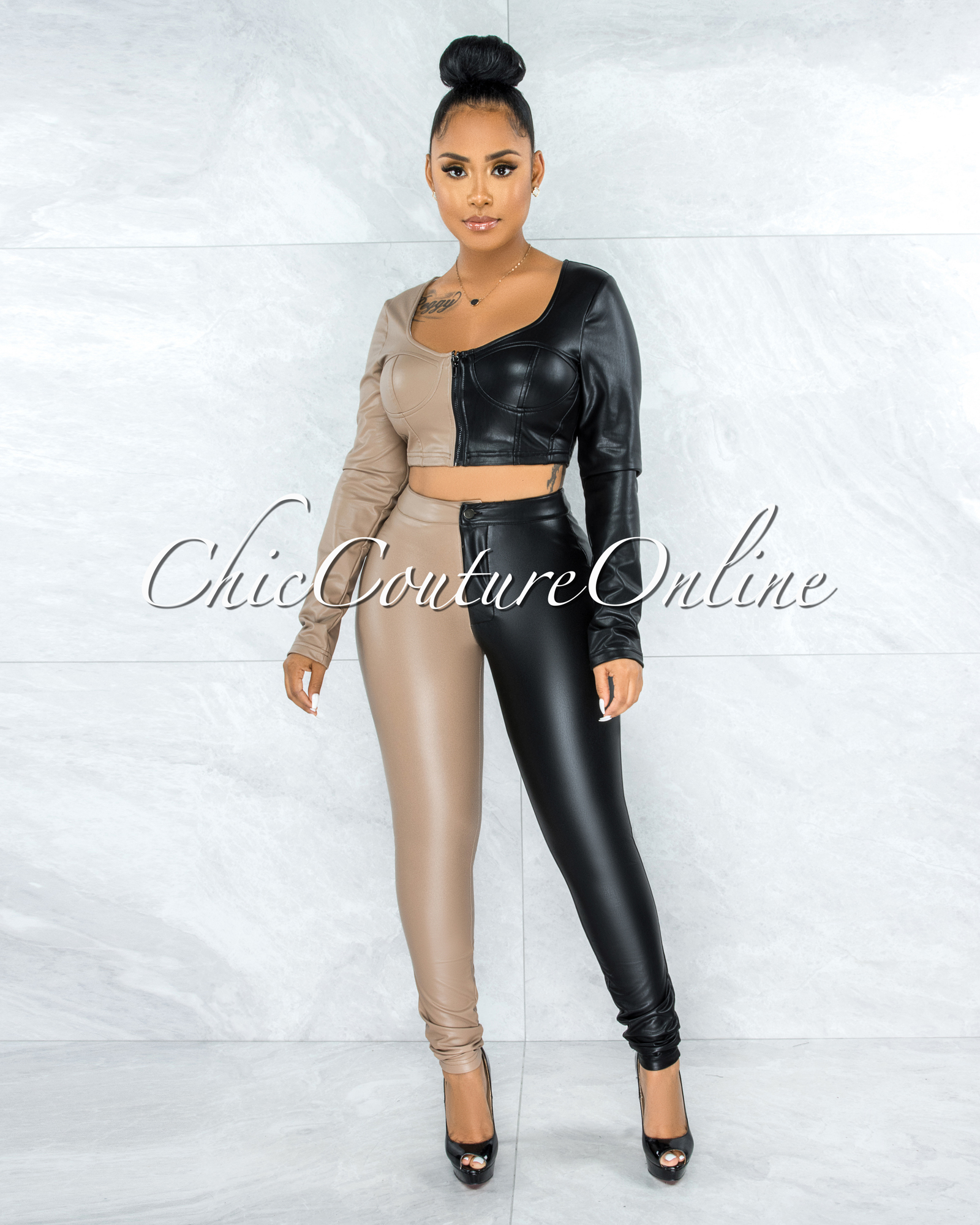 Valene Black Taupe Two-Tone Faux Leather Two Piece Set