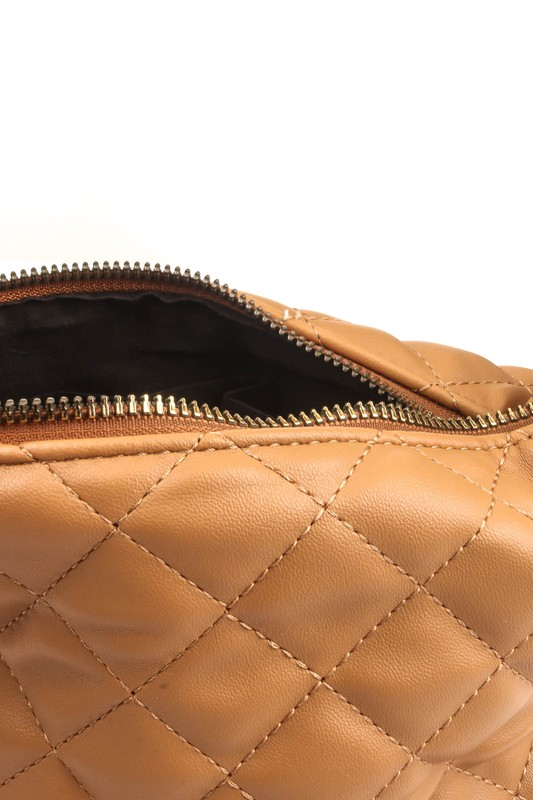 Sonia Black Quilted Faux Leather Bag