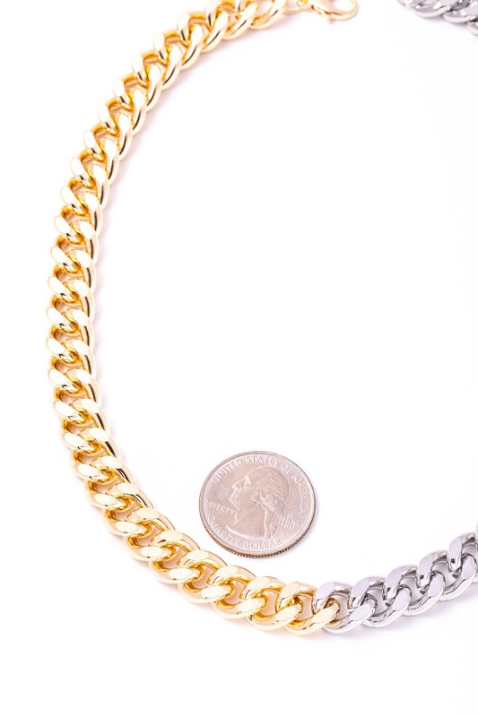 Melanie Gold & Silver Two Tone Simple Curb Chain Necklace