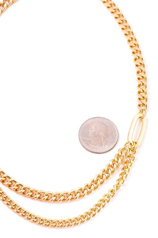Sarah Gold Curb Chain Necklace Set