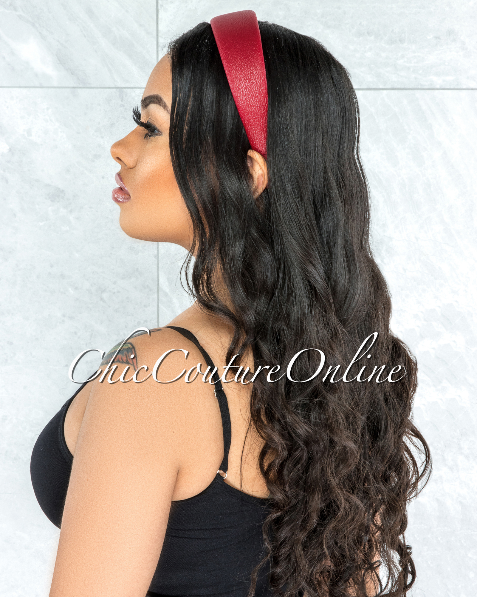 Alexis Red Faux Leather Simple Headband