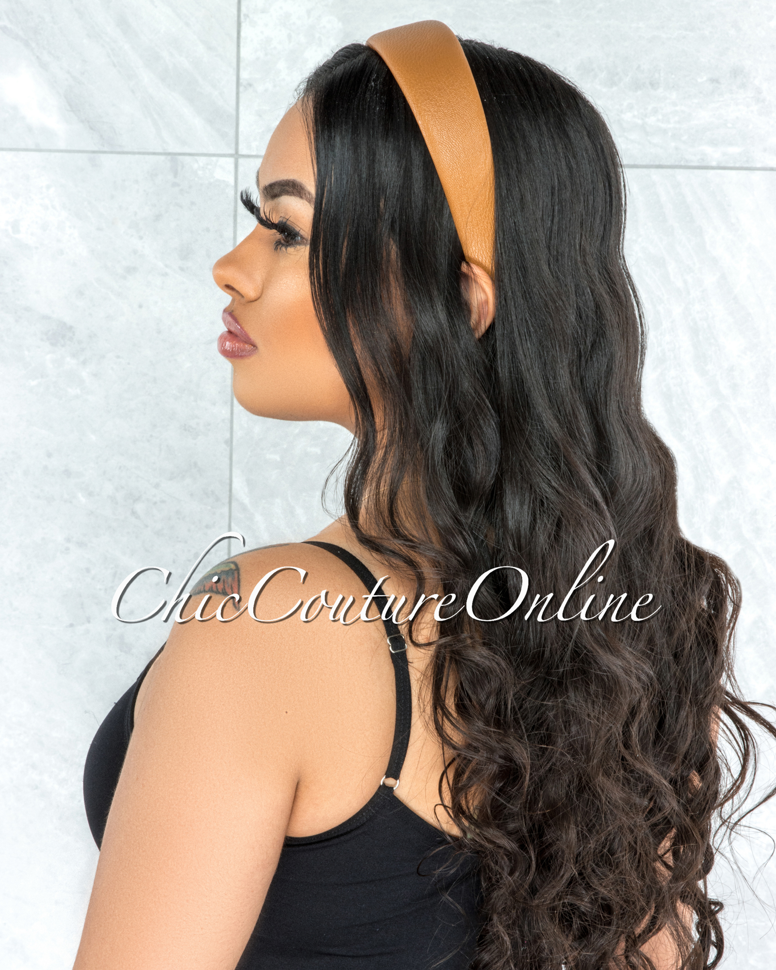 Alexis Brown Faux Leather Simple Headband