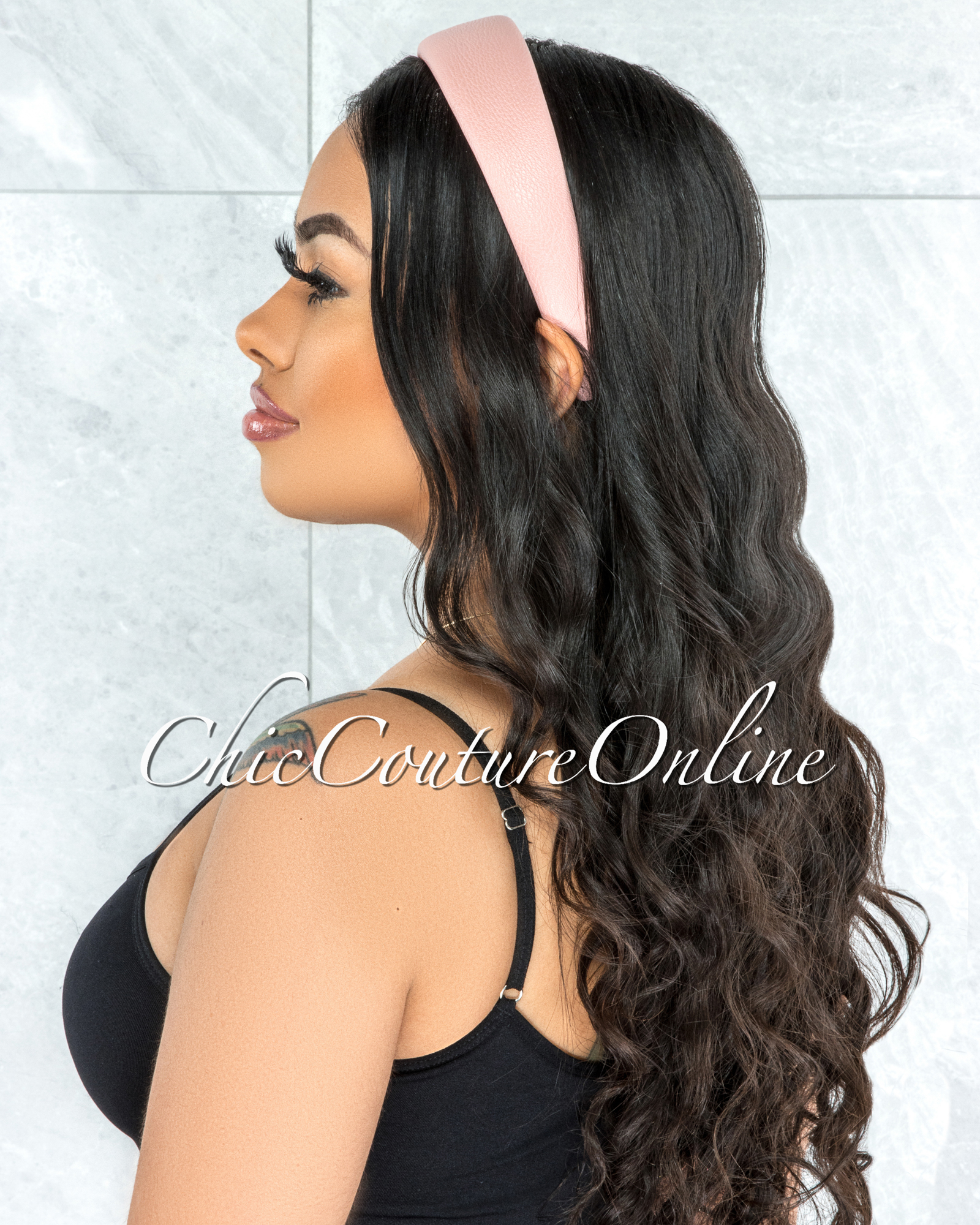 Alexis Pink Faux Leather Simple Headband
