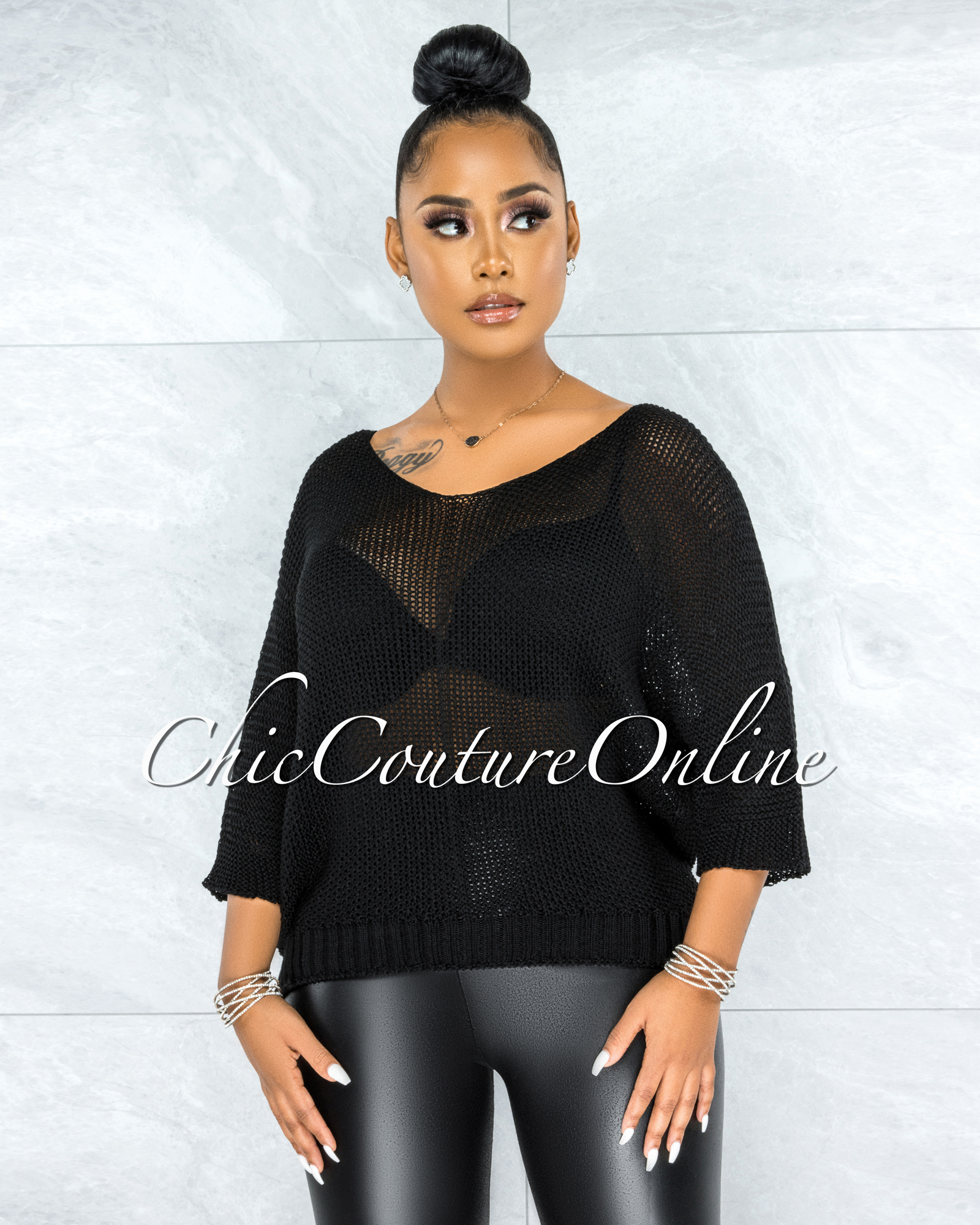 Lovera Black Crochet Oversized Sweater