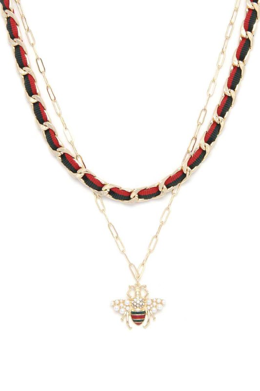 Elliot Gold Double Strand Bee Charm Necklace