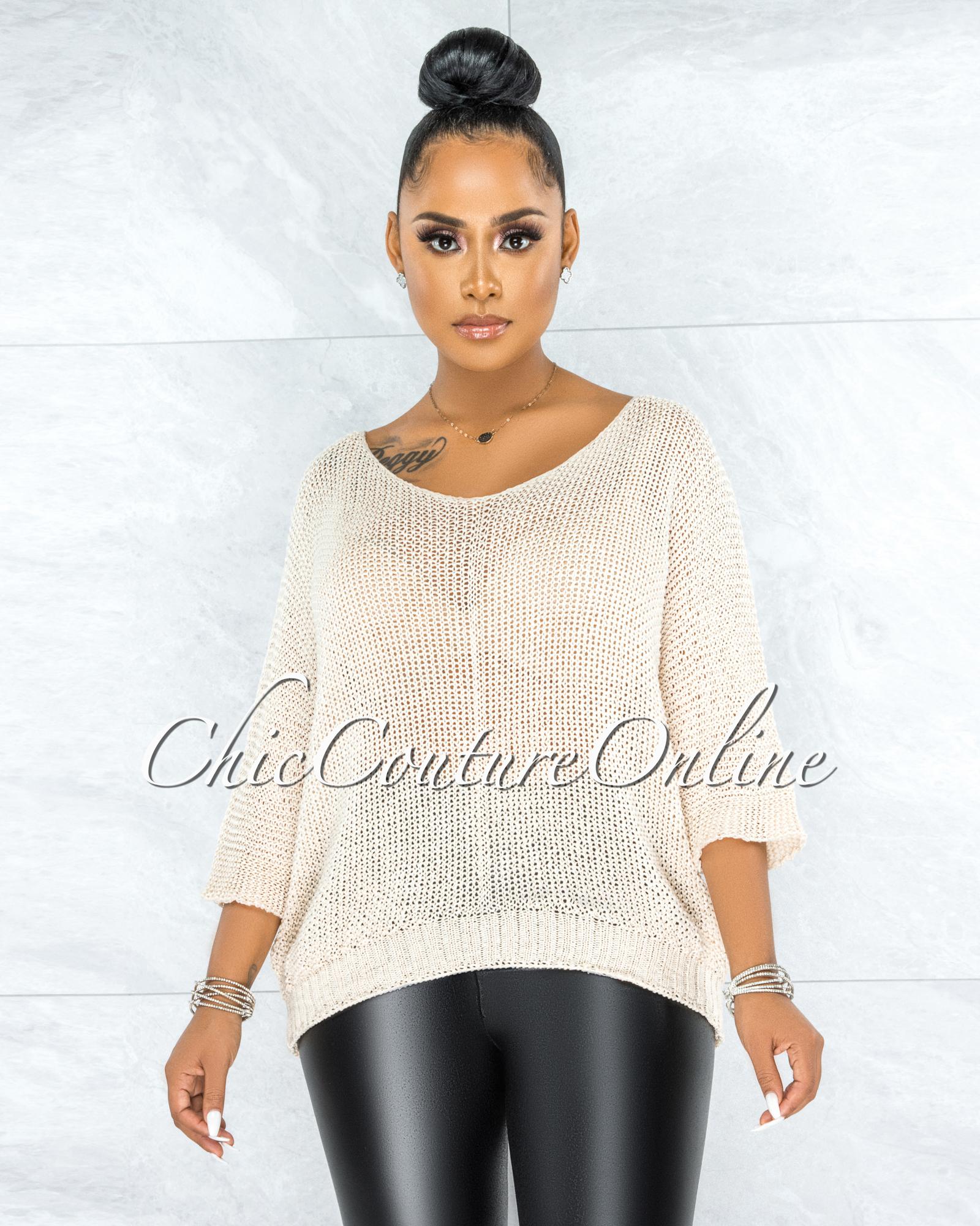 Lovera Cream Crochet Oversized Sweater