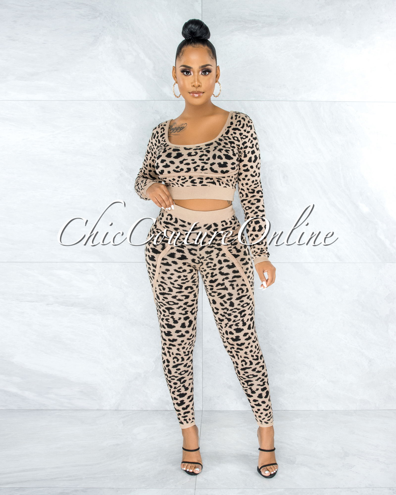 Entorna Leopard Print Two Piece Knit Set