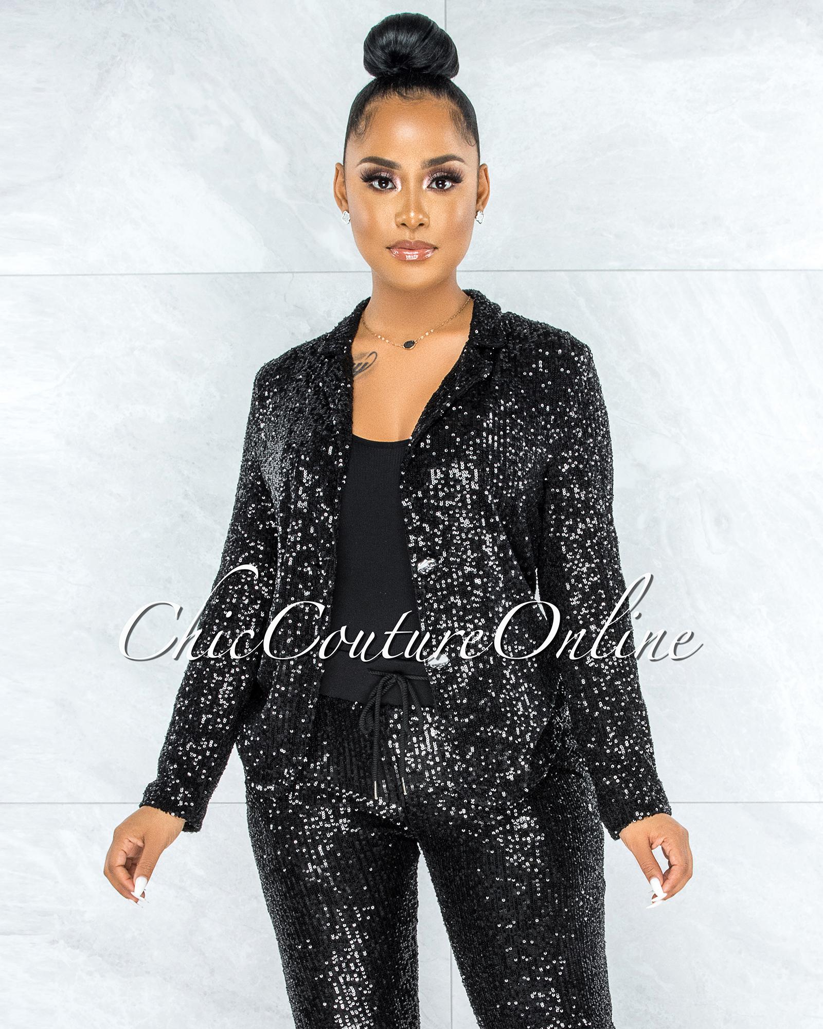 Daryen Black Sequins Double Breast Jacket