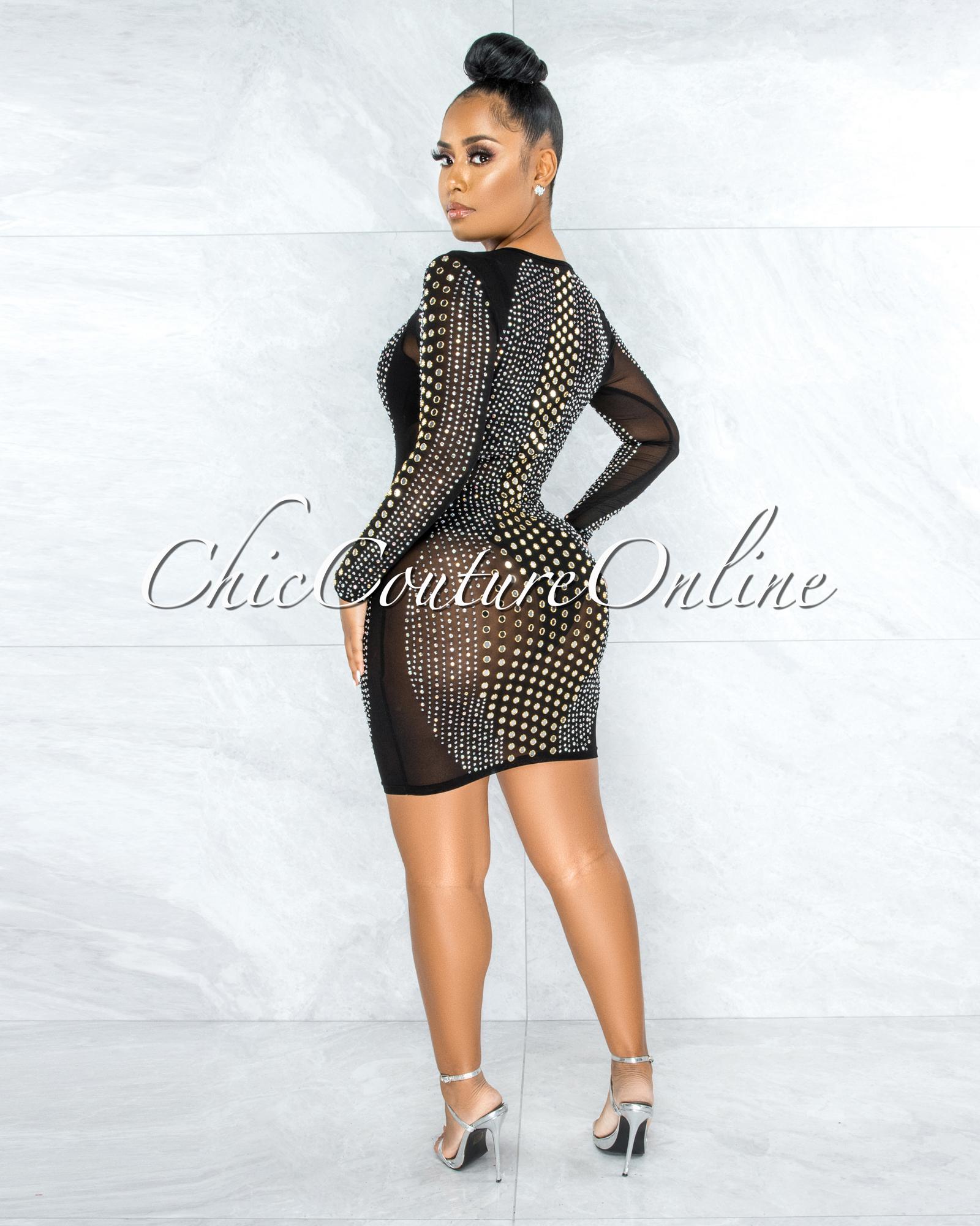Gloriel Black Mesh Rhinestones Stud Mirror Sheer Dress