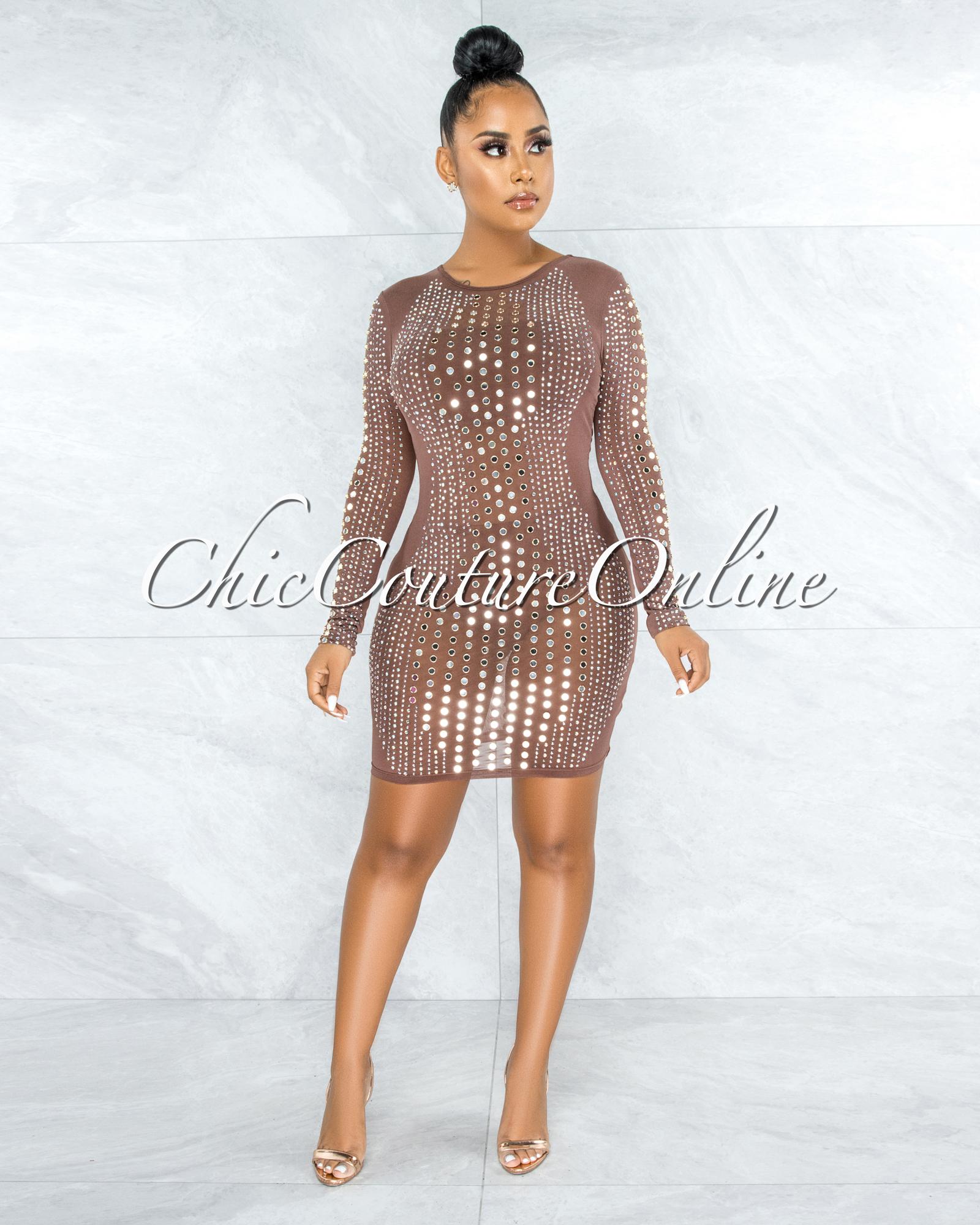 Gloriel Mocha Mesh Rhinestones Stud Mirror Sheer Dress