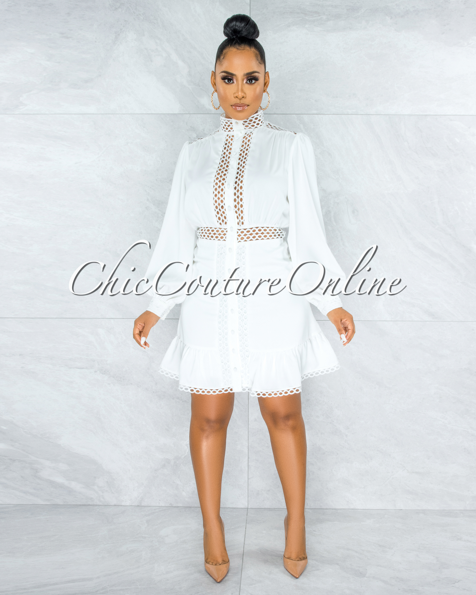 Amelia Off-White Eyelet Scallop Details Buttoned Ruffle Dress