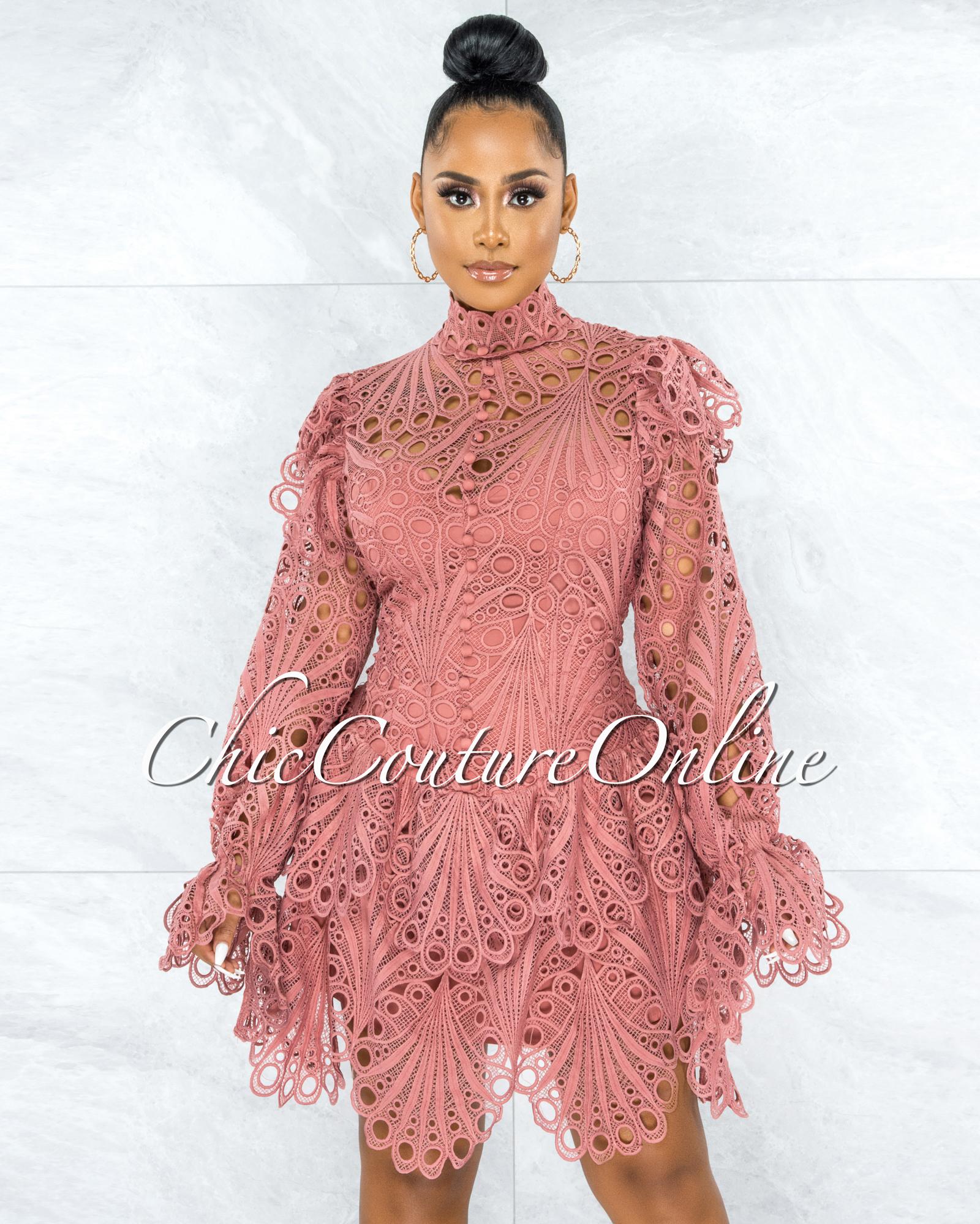 Zamora Mauve Crochet Embroidery Ruffle Skater Dress