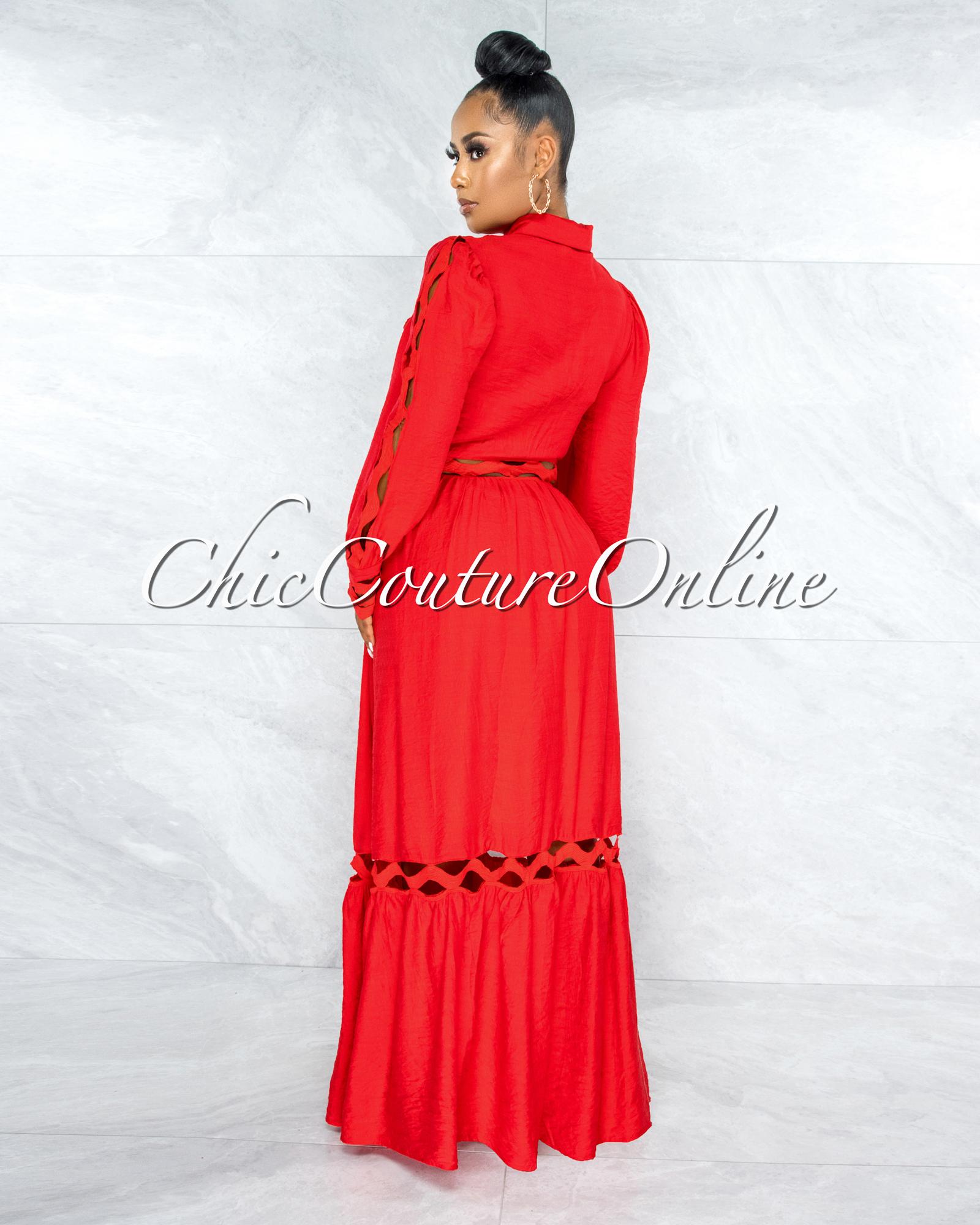 Viviene Red Eyelet Scallop Details Buttoned Shirt Maxi Dress