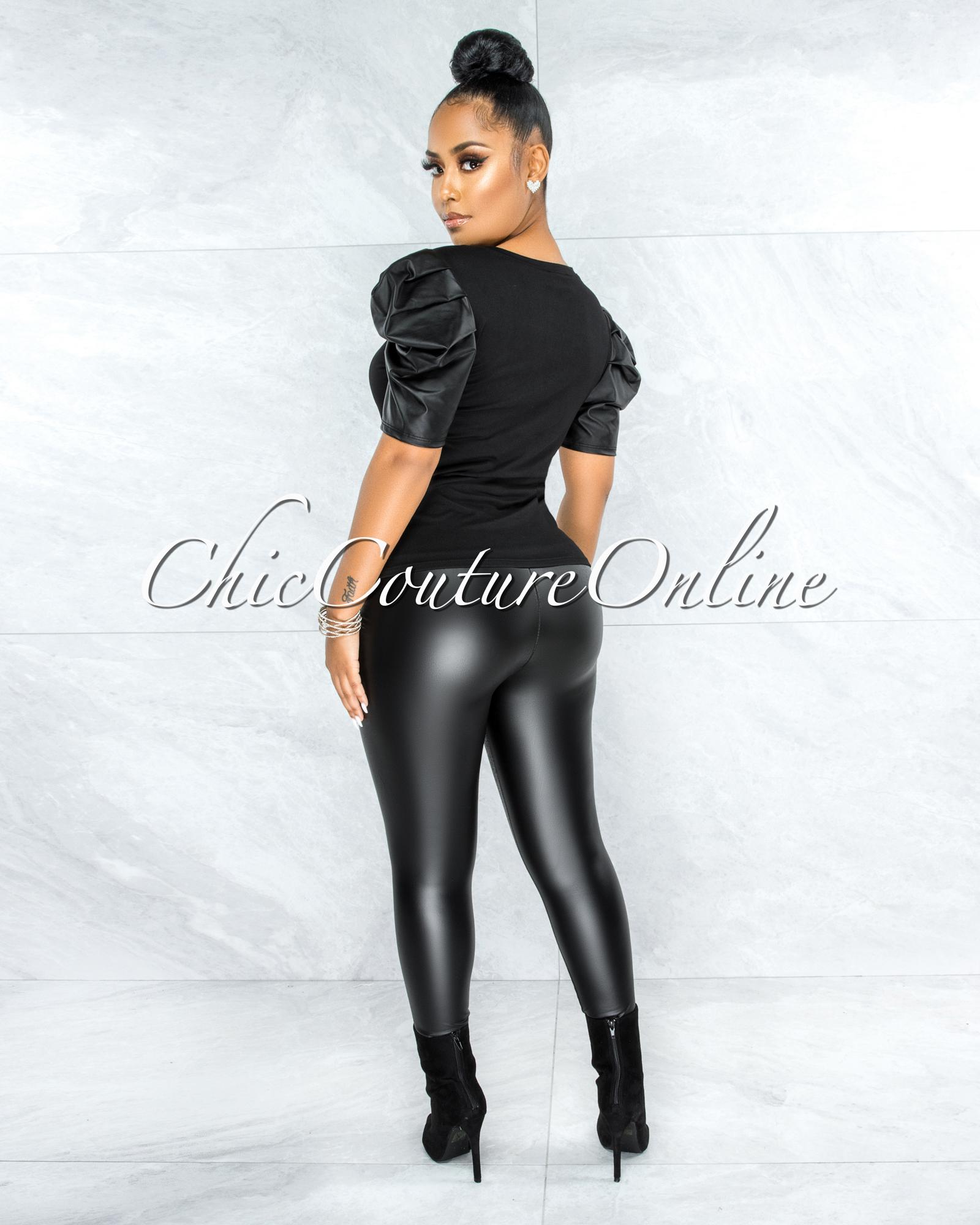 Hatris Black Faux Leather Bubble Sleeves Top