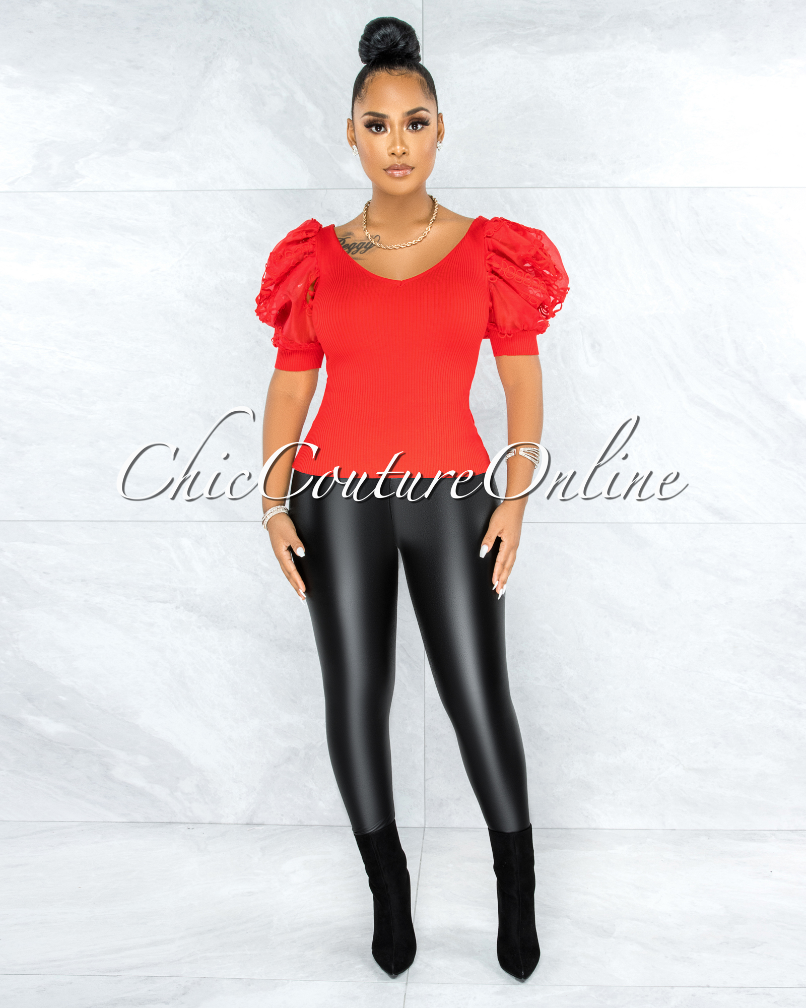 Taia Red Ribbed Tulle Crochet Sleeves Top