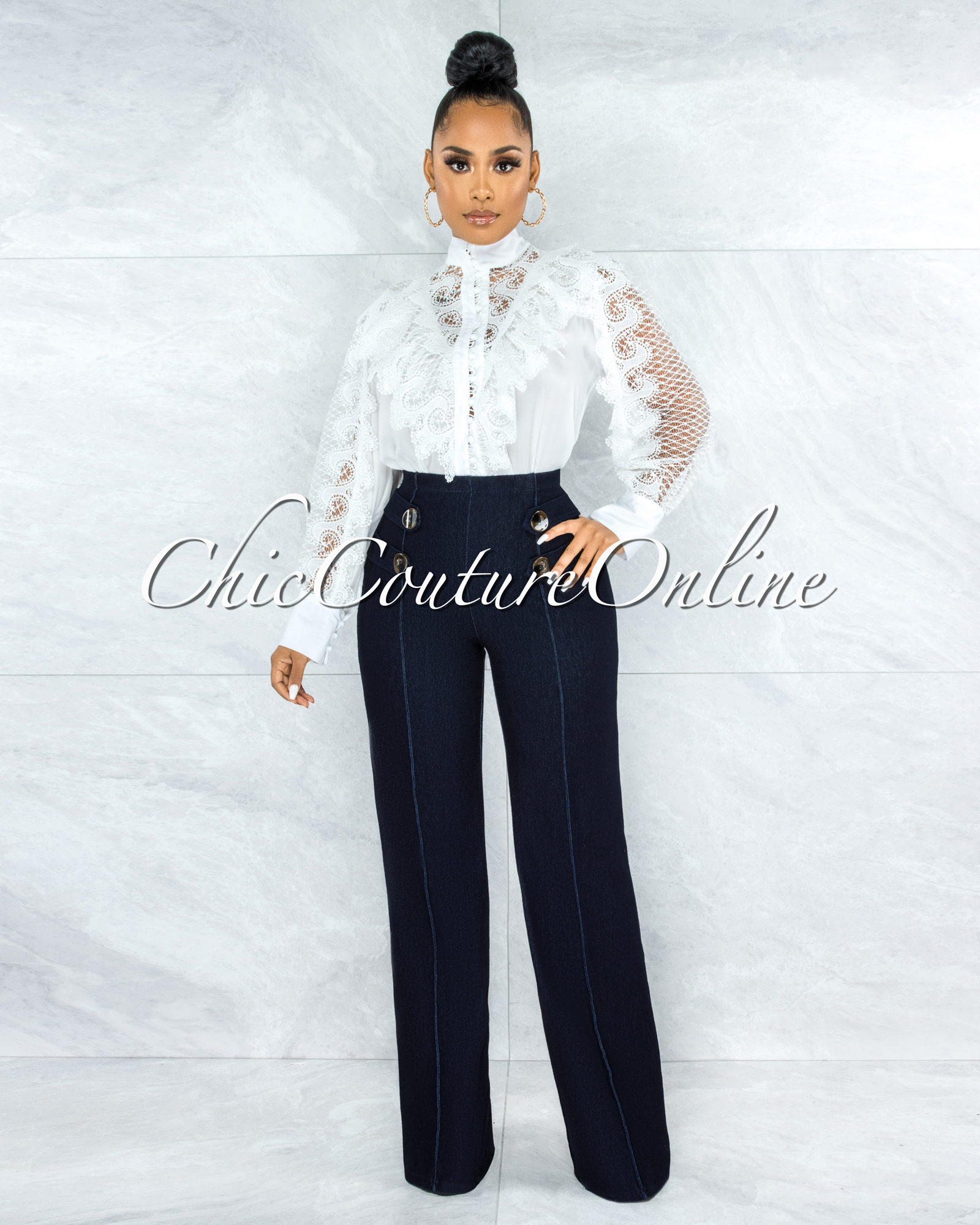 Aaron Off-White Lace Ruffle Buttoned Blouse
