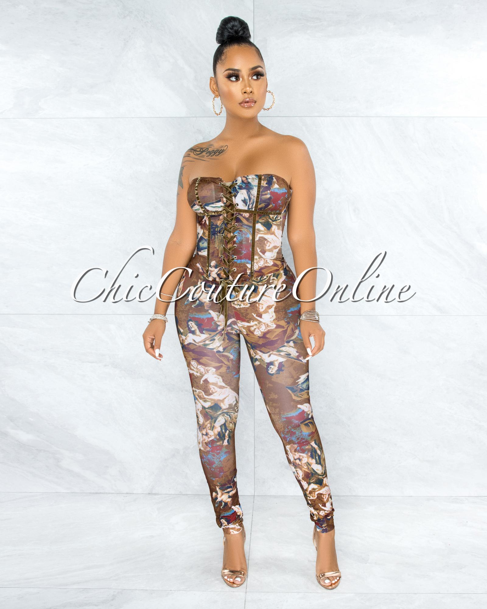 Raven Brown Floral Print Corset Lace-Up Top & Leggings Set