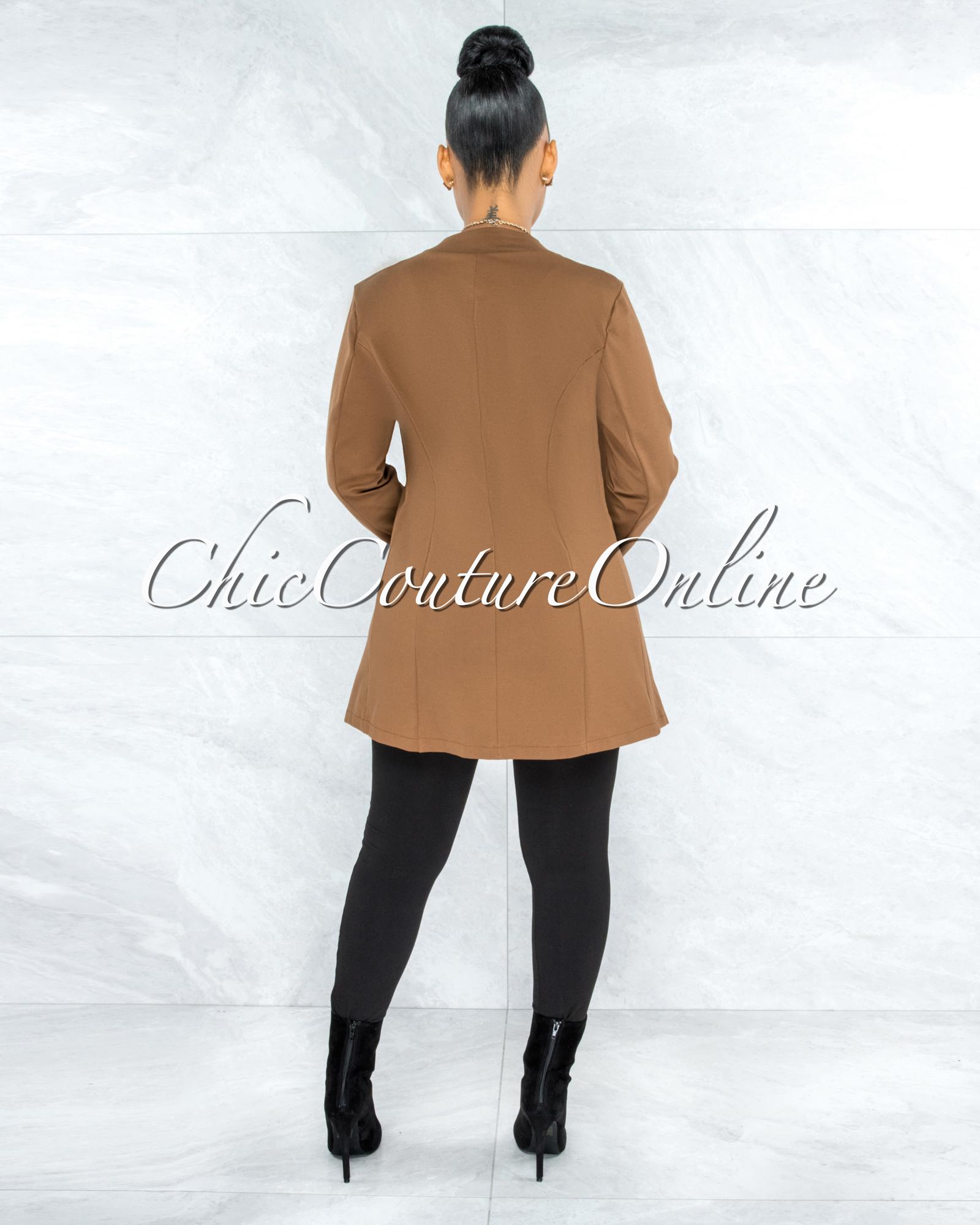 Manelin Camel Open Front Long Sleeves Jacket