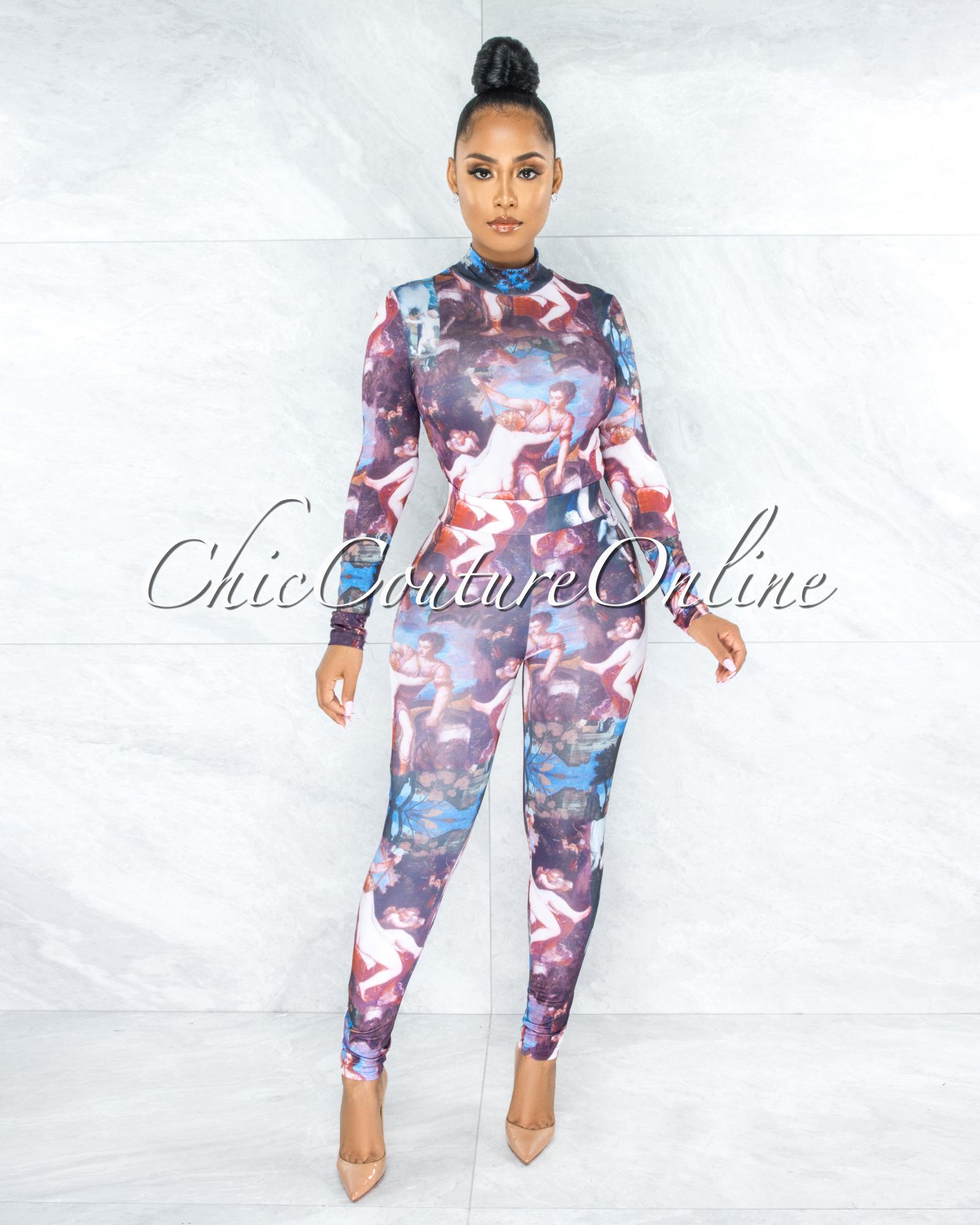 Giona Multi-Color Antique Art Print Bodysuit & Leggings Set