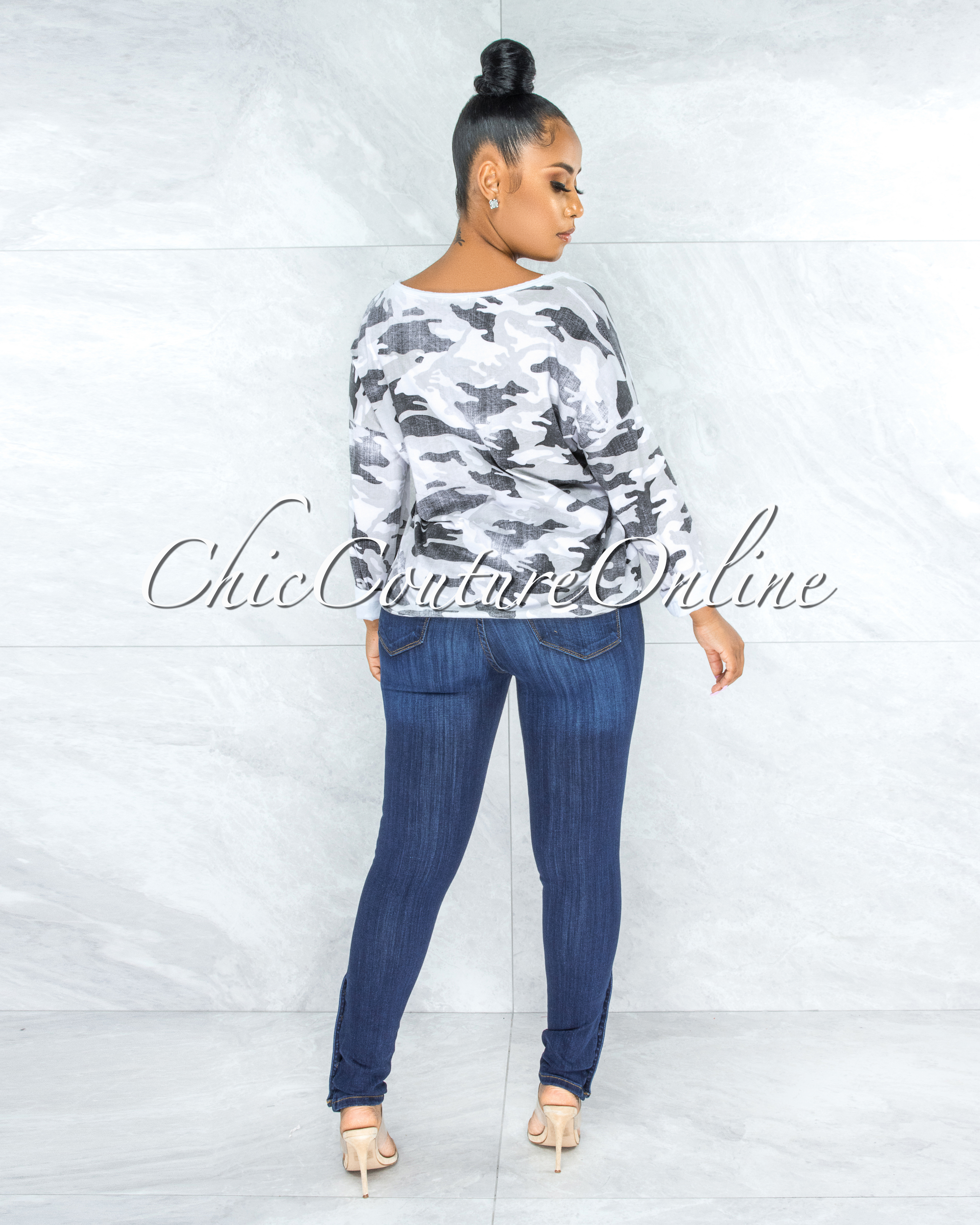 Barras White Grey Camo Print Front Star Accent Top