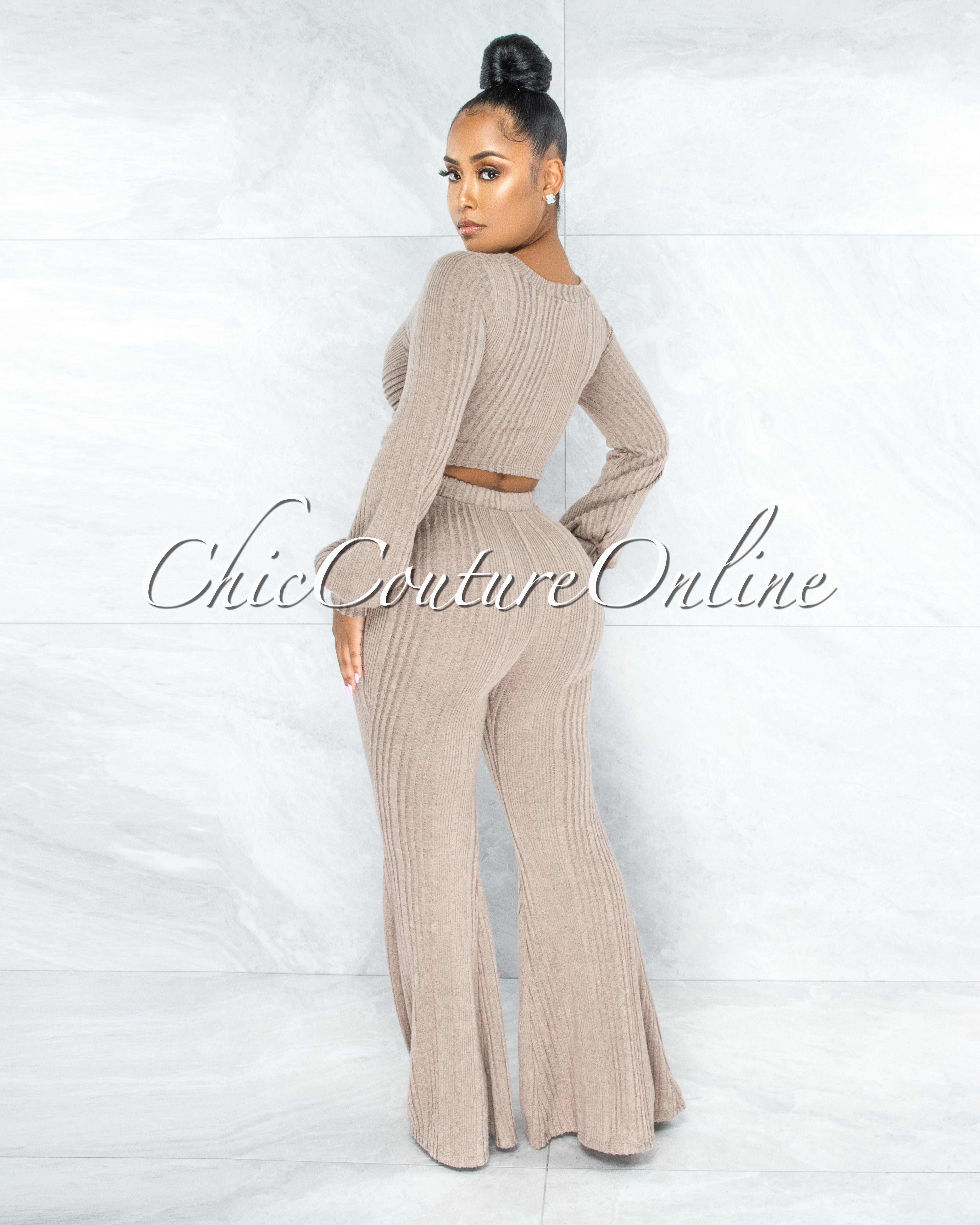 Karan Light Brown O-Ring Detail Top & Pants Ribbed Set