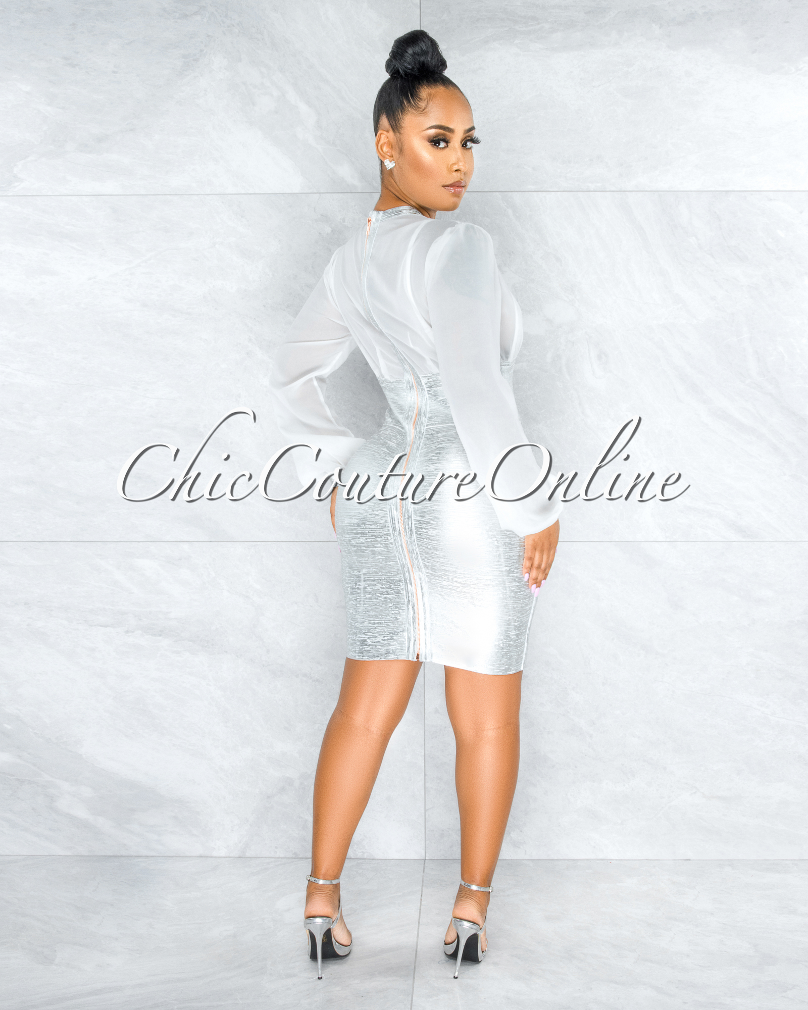 Leroux Silver Foil Overlay Silky White Top Bandage Dress