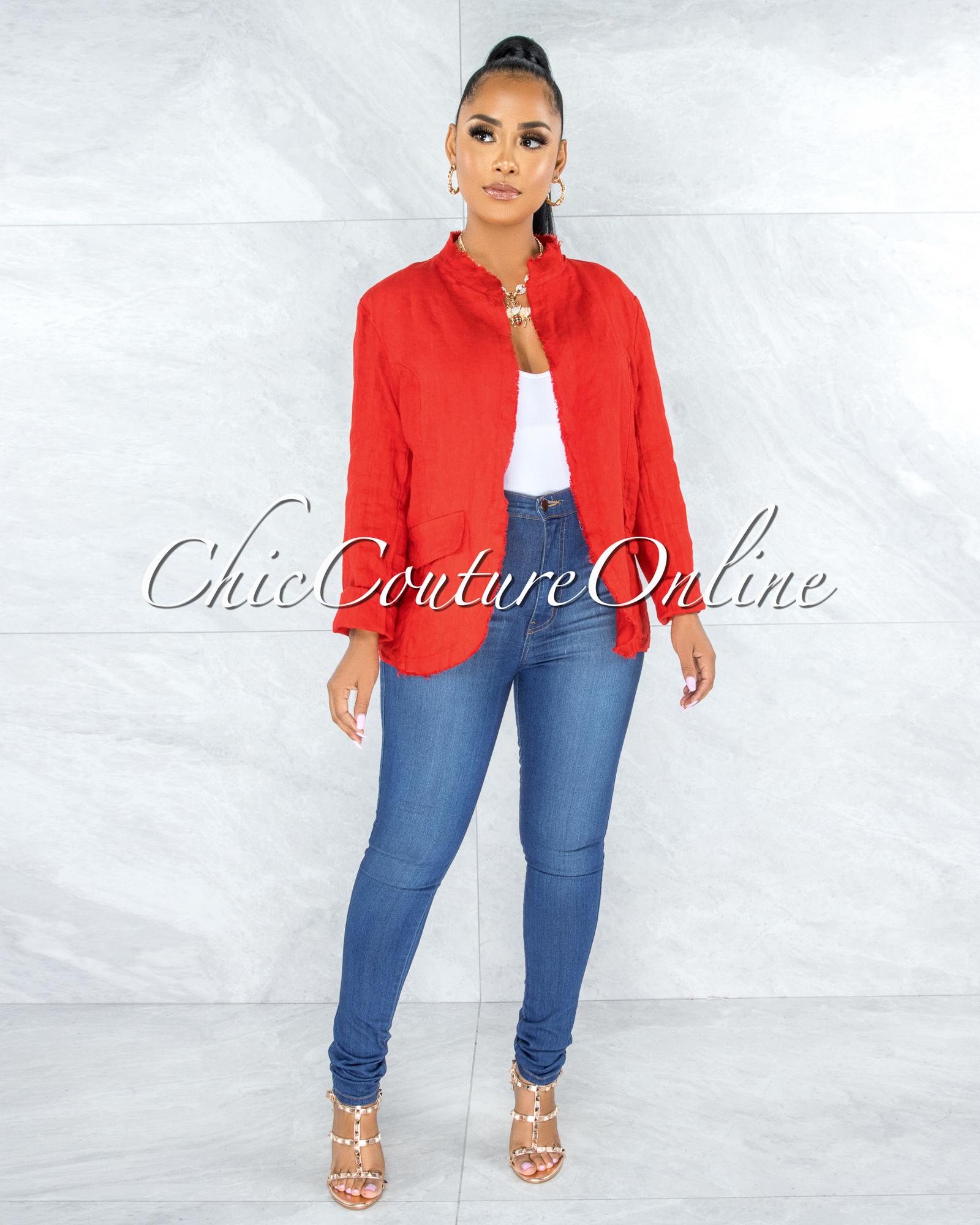 Sadira Red Distressed Linen Jacket