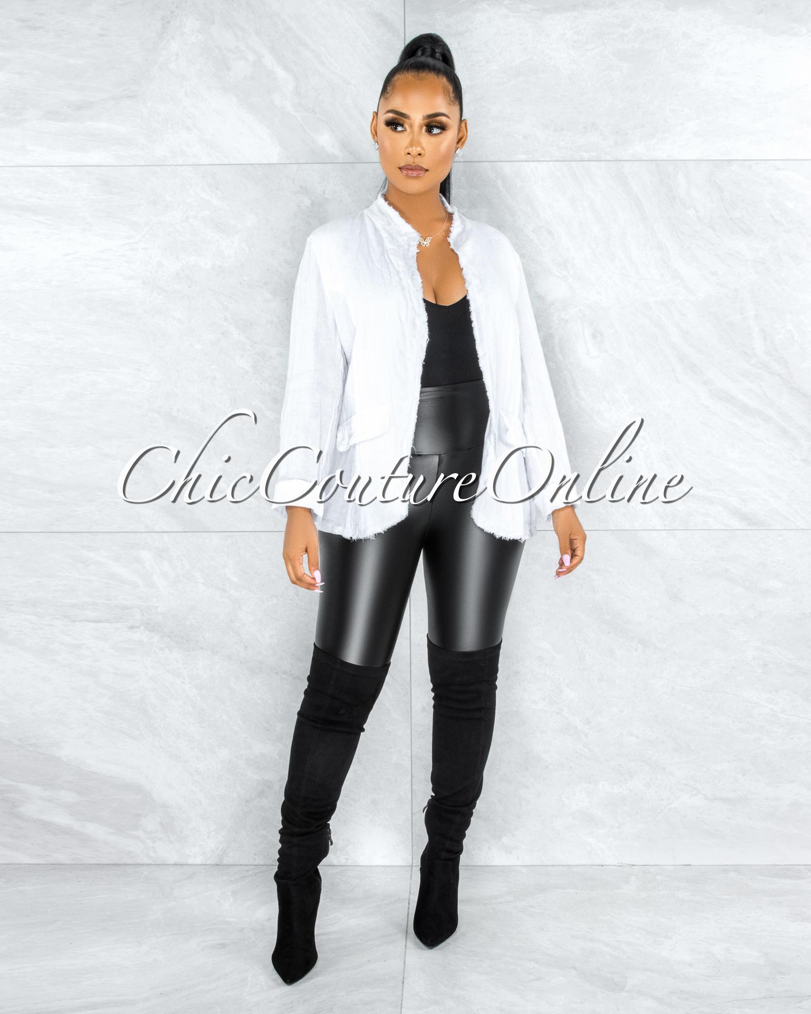 Sadira White Distressed Linen Jacket
