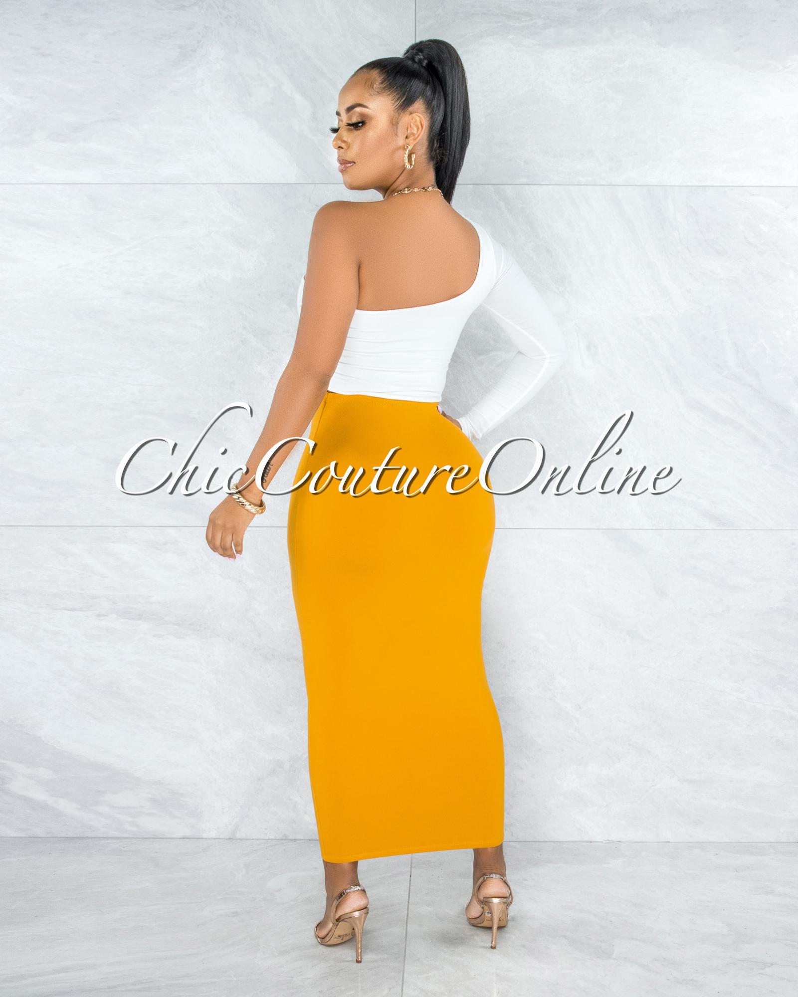 Doneva Mustard Double Lined Pencil Maxi Skirt