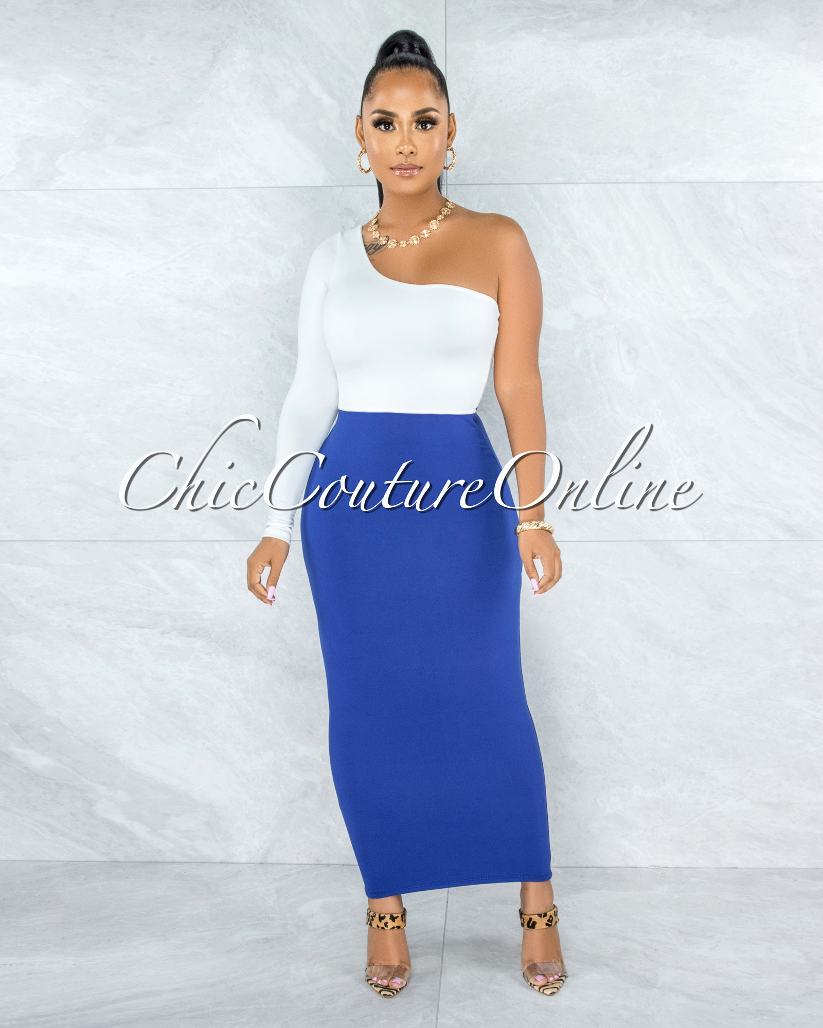 Doneva Royal Blue Double Lined Pencil Maxi Skirt