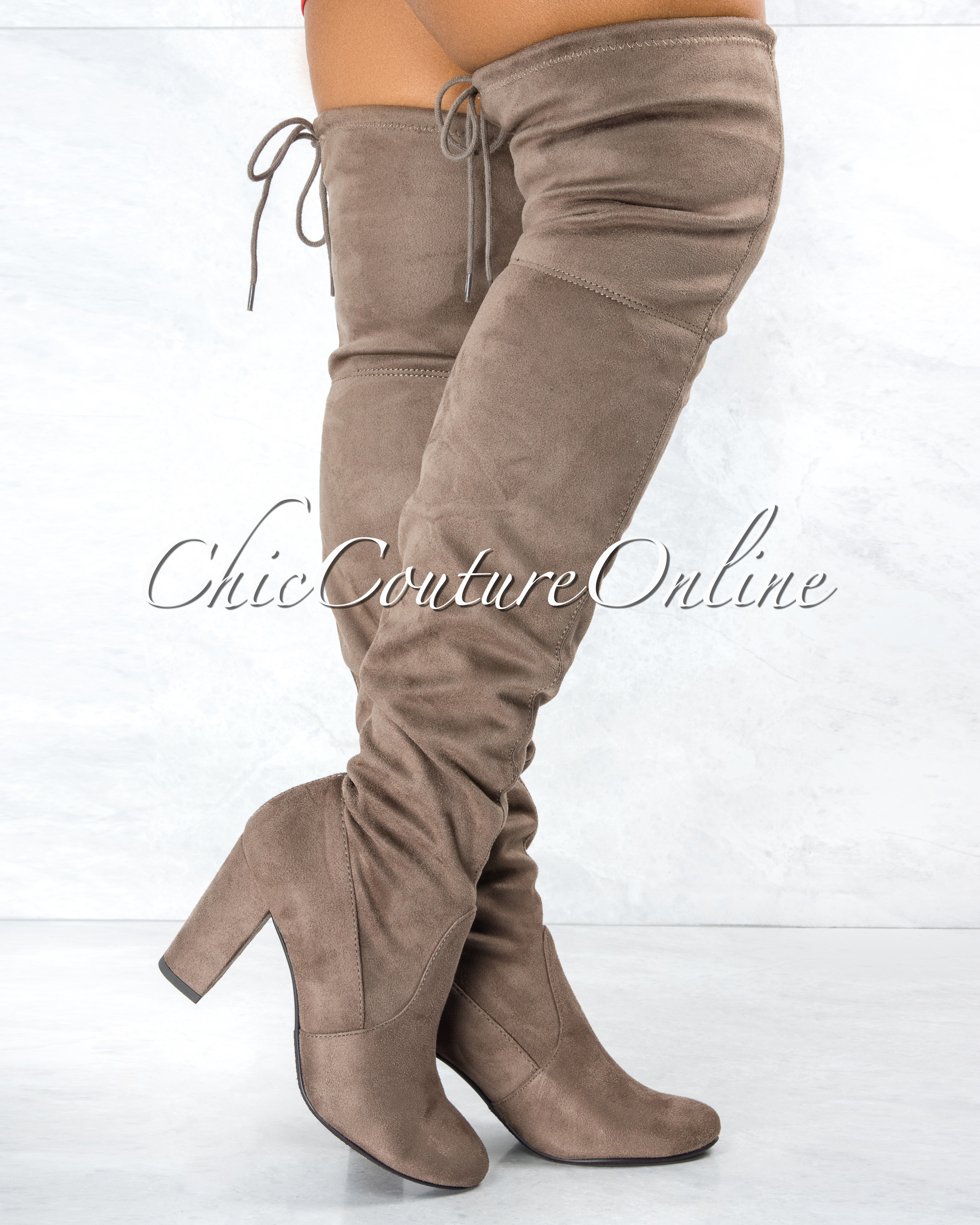 Snivy Taupe Faux Suede Knee High Block Heel Boots