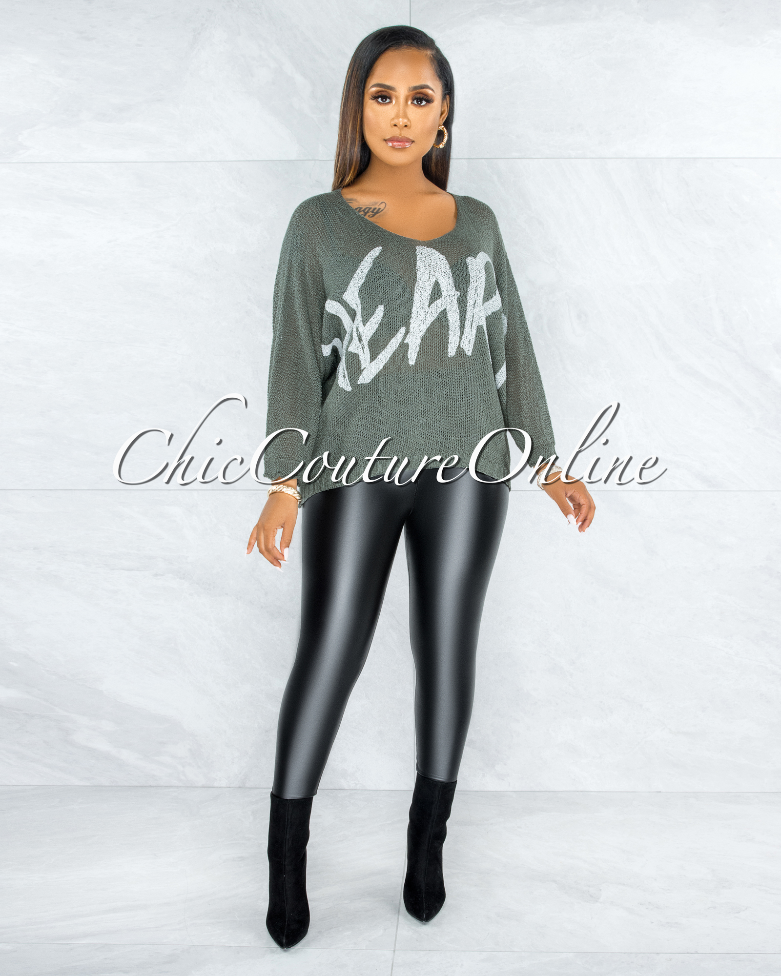 Coleman Olive HEART Graphic Knit Sheer Sweater
