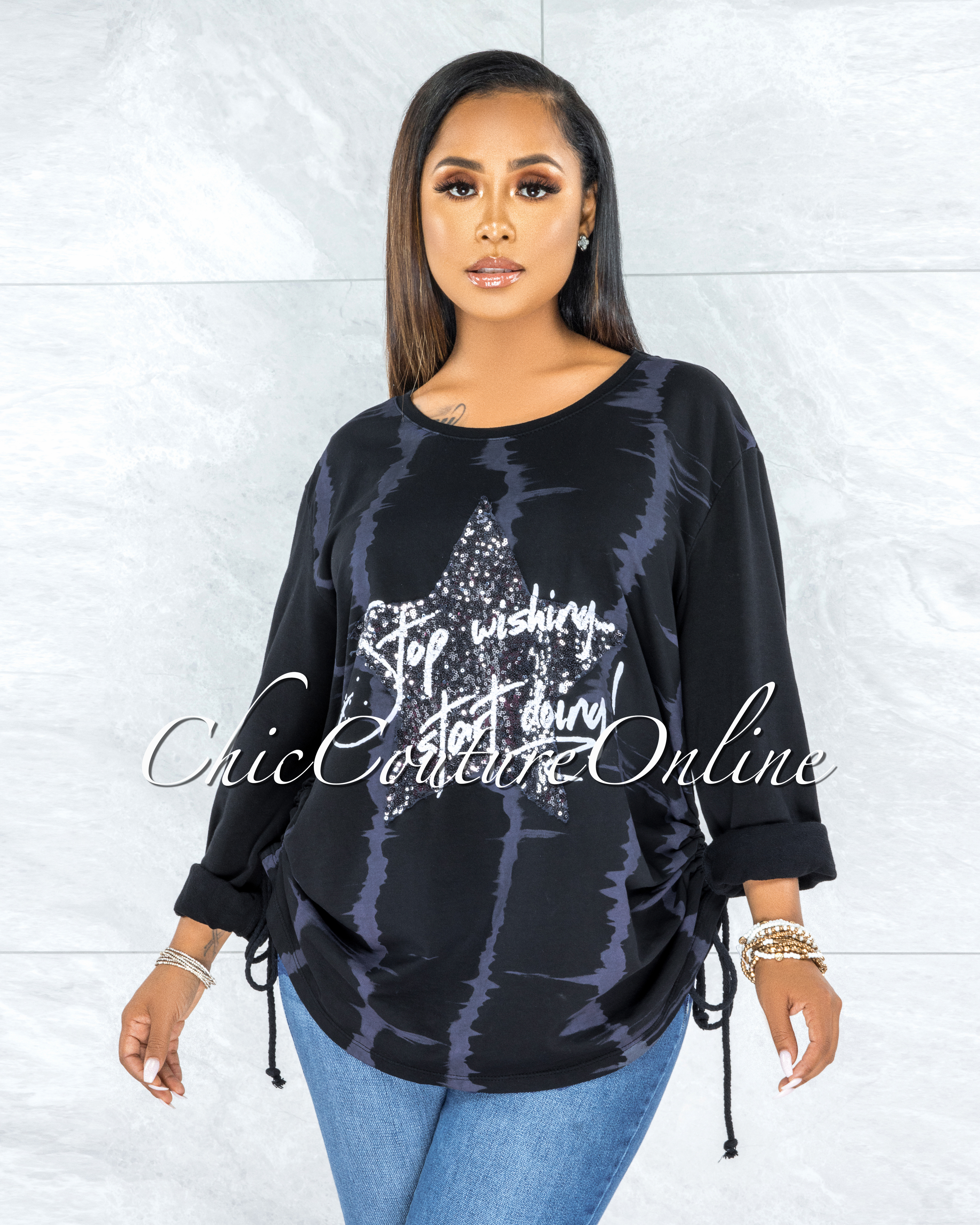 Isser Black Silver Sequins Star Ruched Sweater