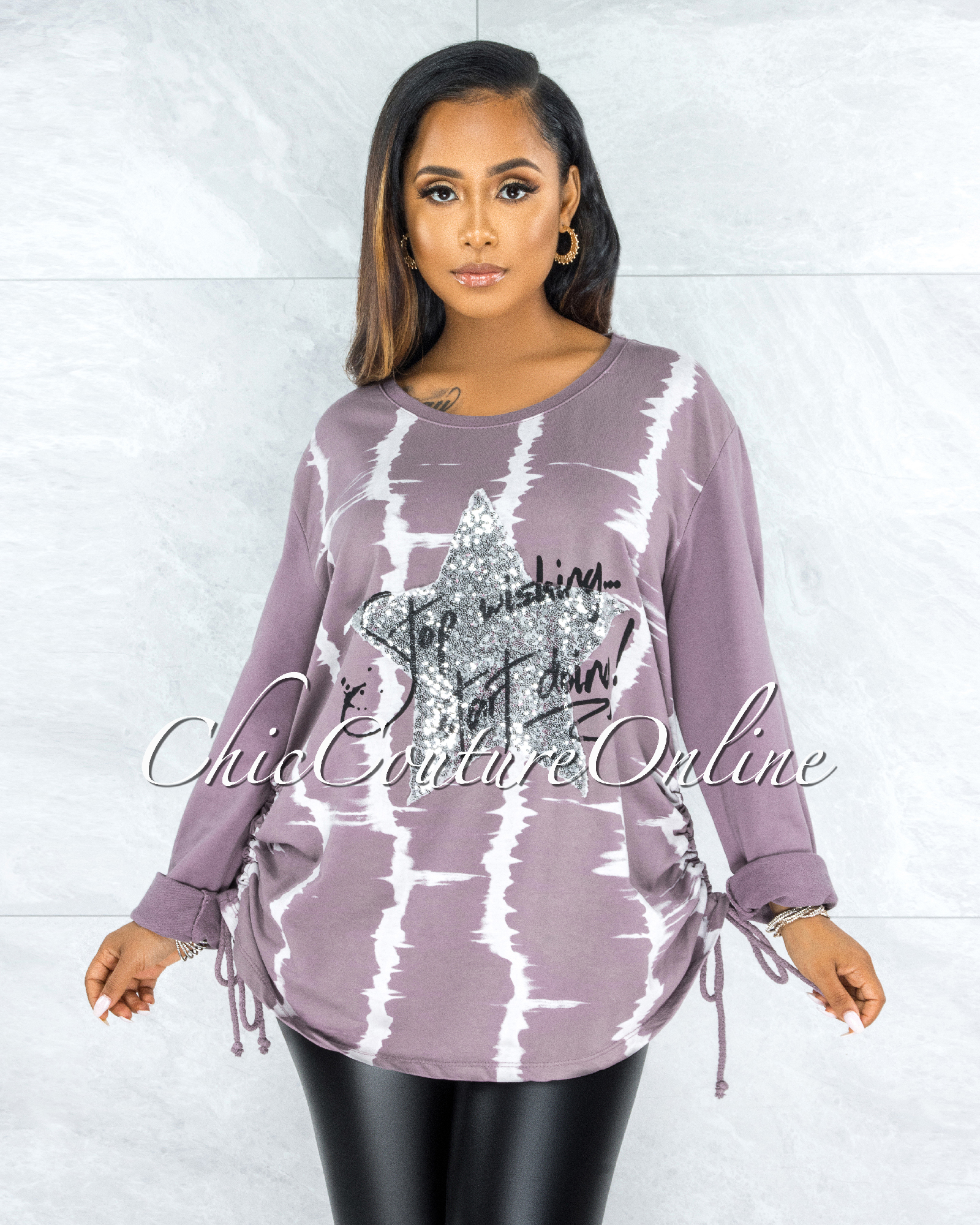 Isser Mauve Silver Sequins Star Ruched Sweater