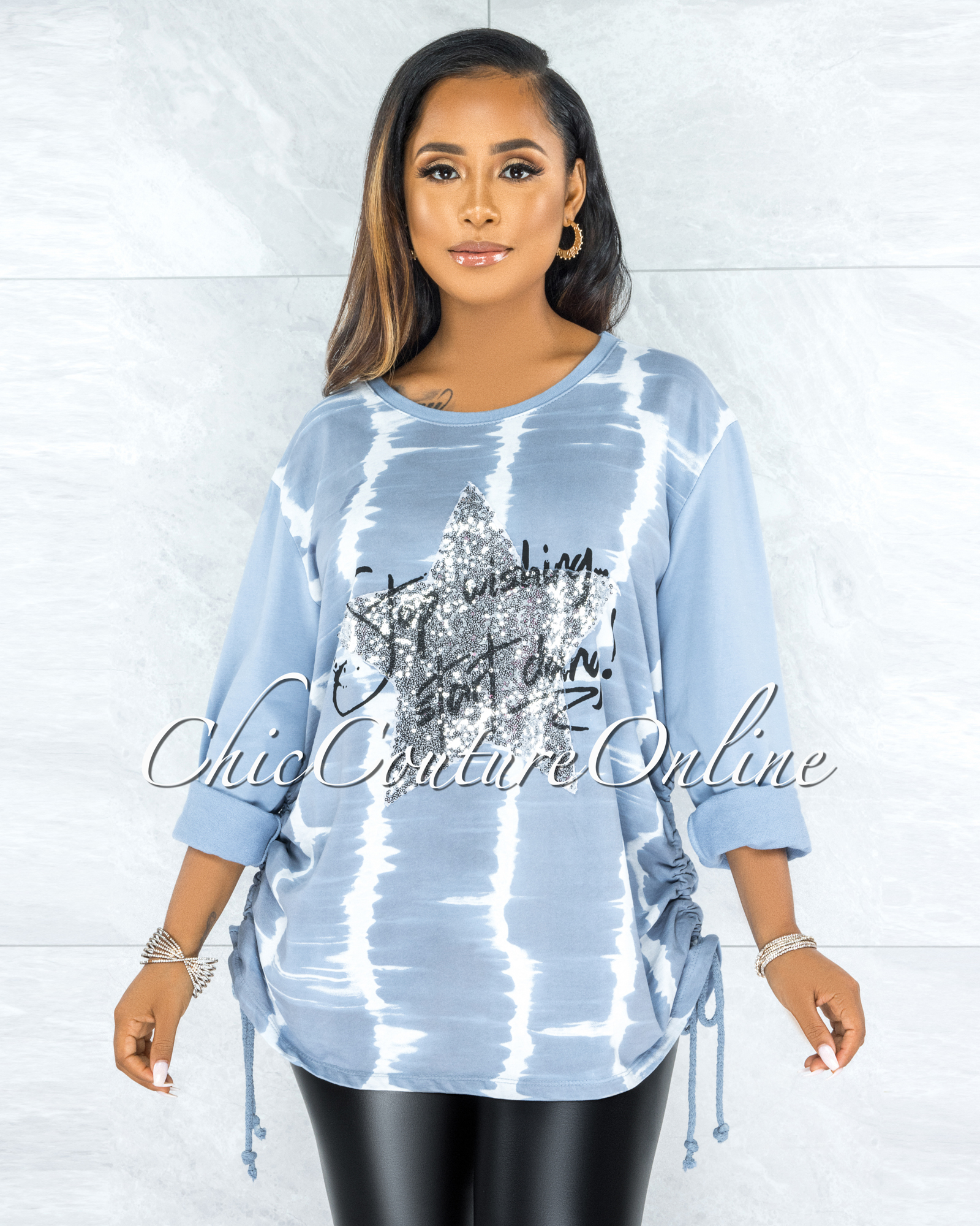 Isser Baby Blue Silver Sequins Star Ruched Sweater