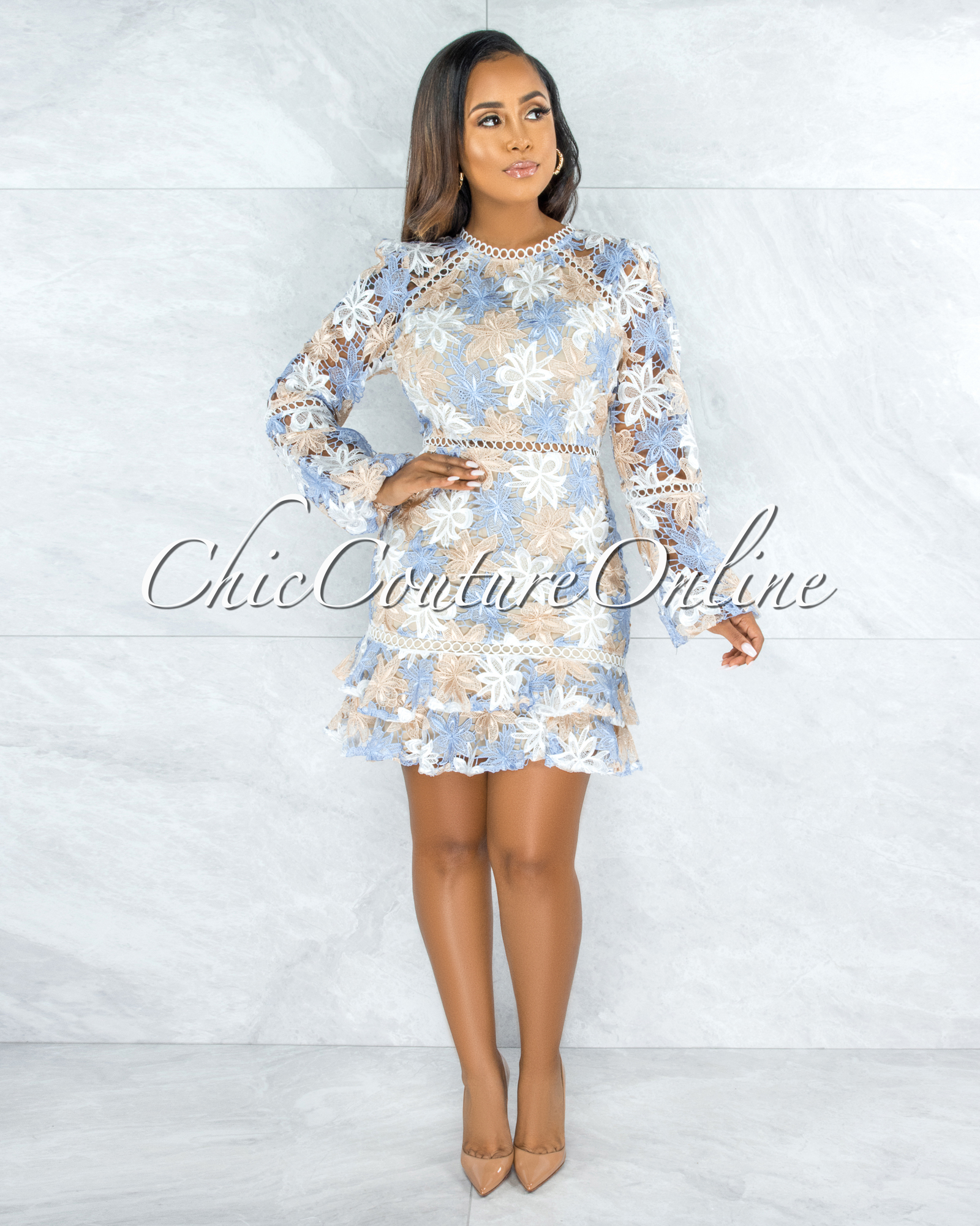 Beyla Baby Blue Nude Crochet Skater Dress