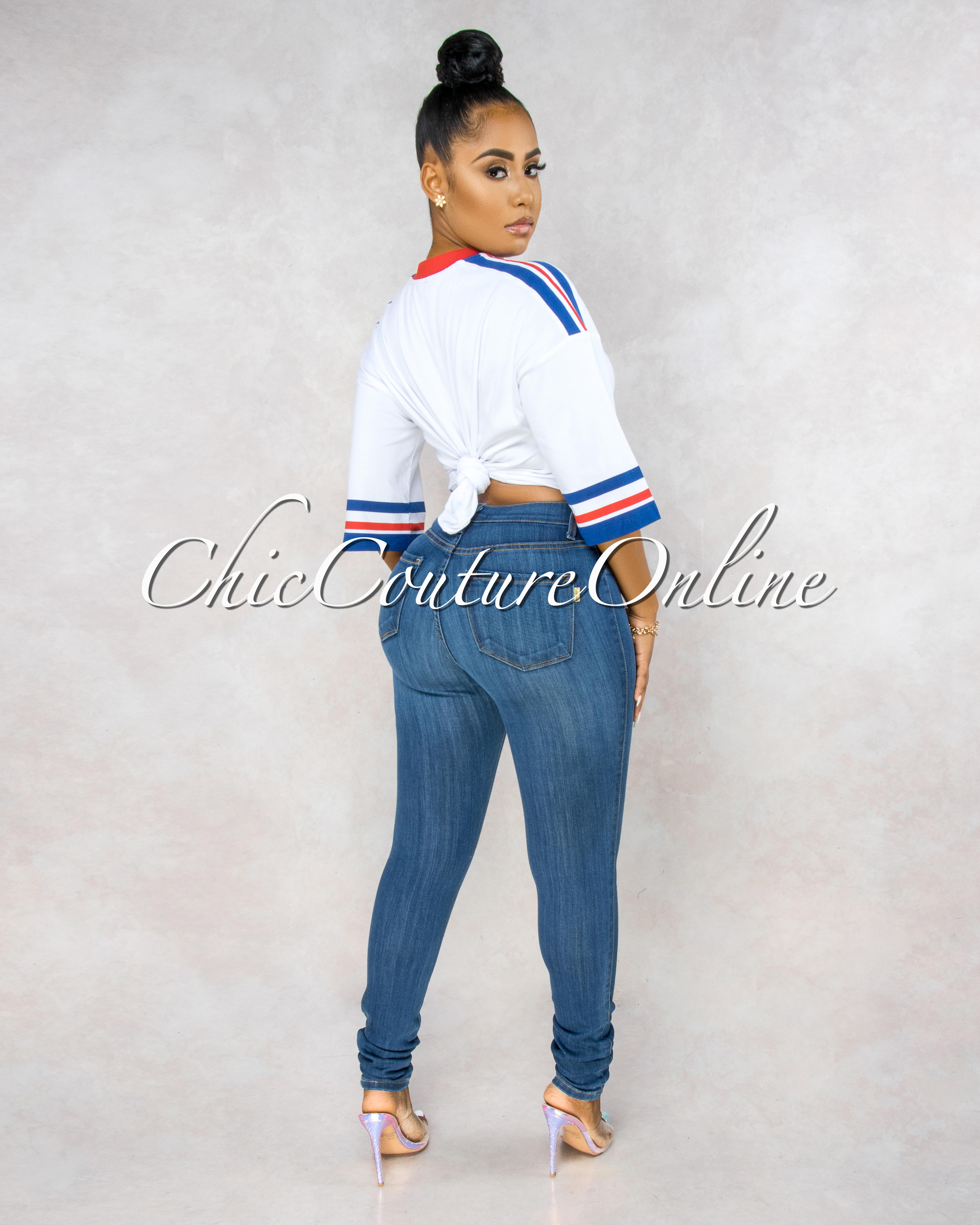 Kenya Medium Denim Cut-Out Knees Skinny Jeans