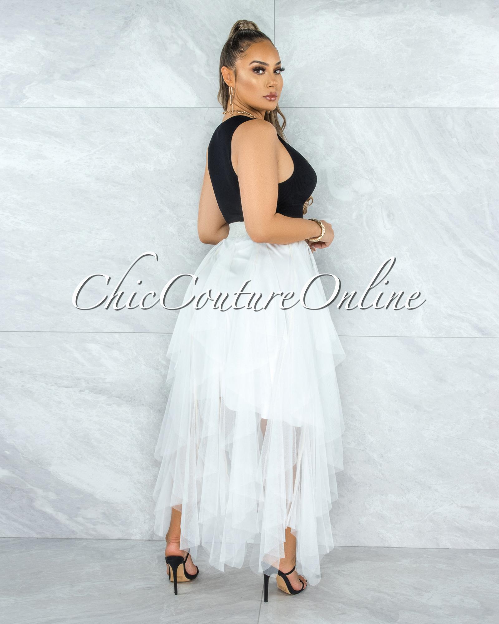 Vittoria Off-White Tulle Ruffle Maxi Skirt