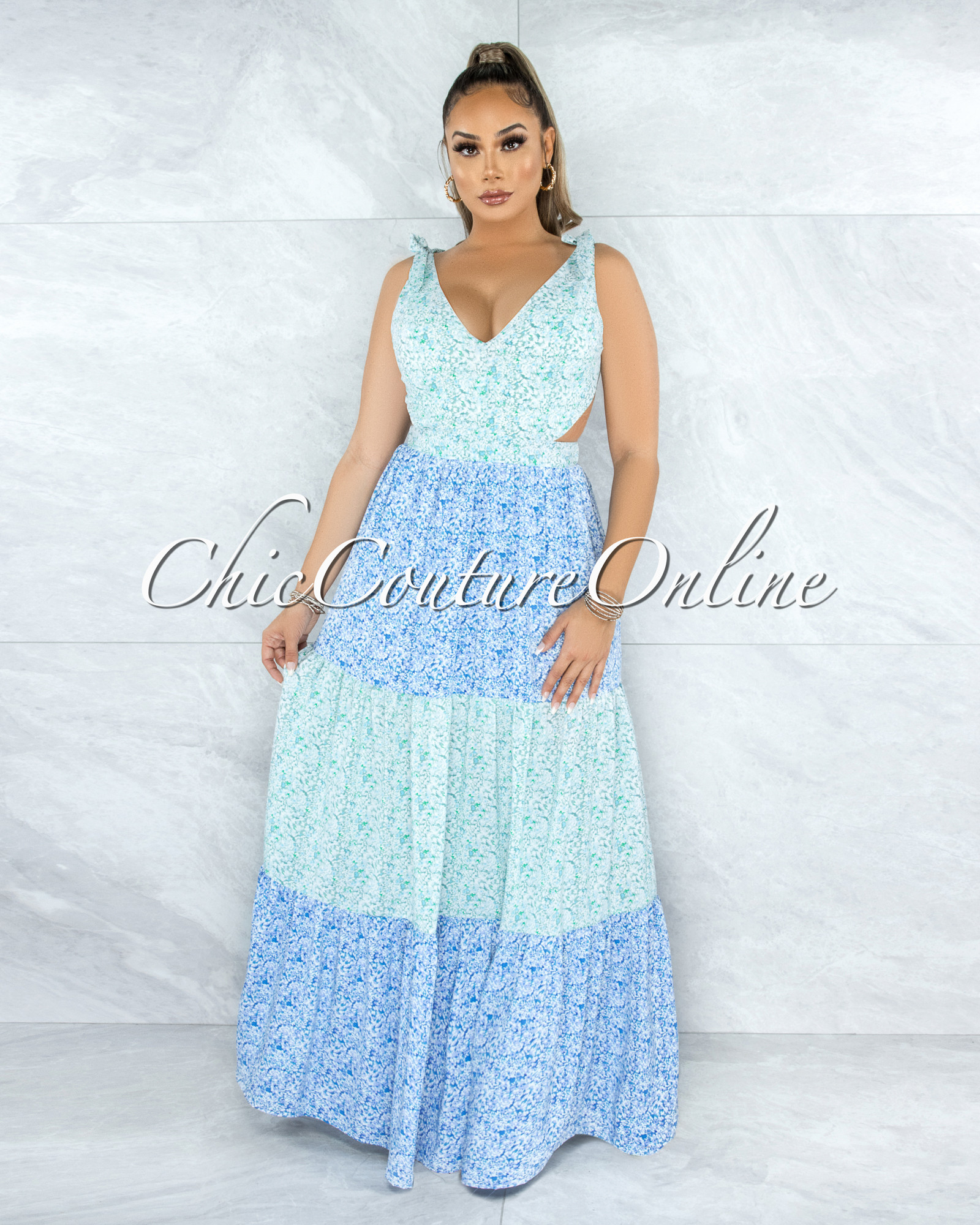 Mogens Green Blue Floral Print Cut-Out Back Tie Maxi Dress