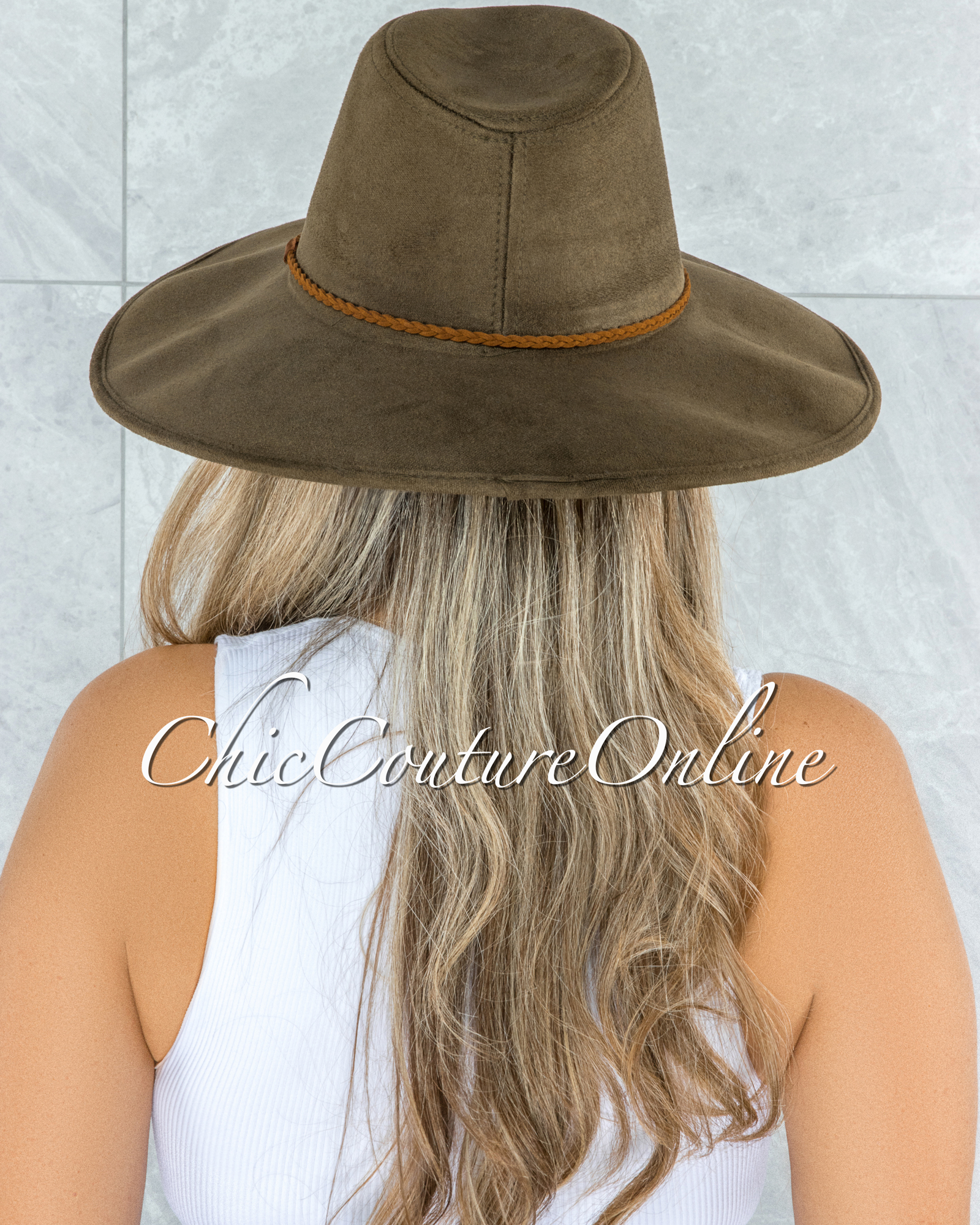 Gipsy Olive Green Brown Braid Faux Suede Bush Hat