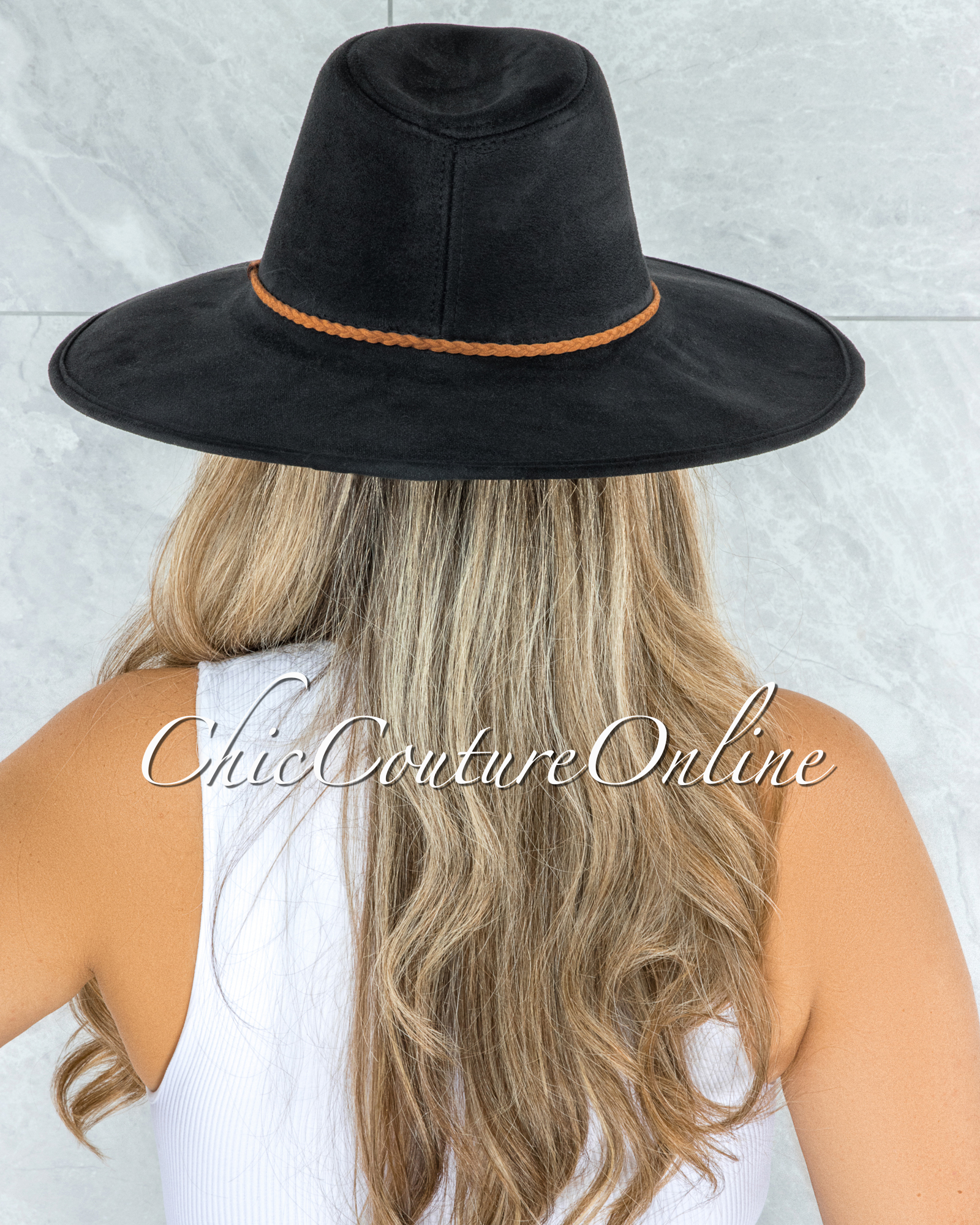 Gipsy Black Brown Braid Faux Suede Bush Hat