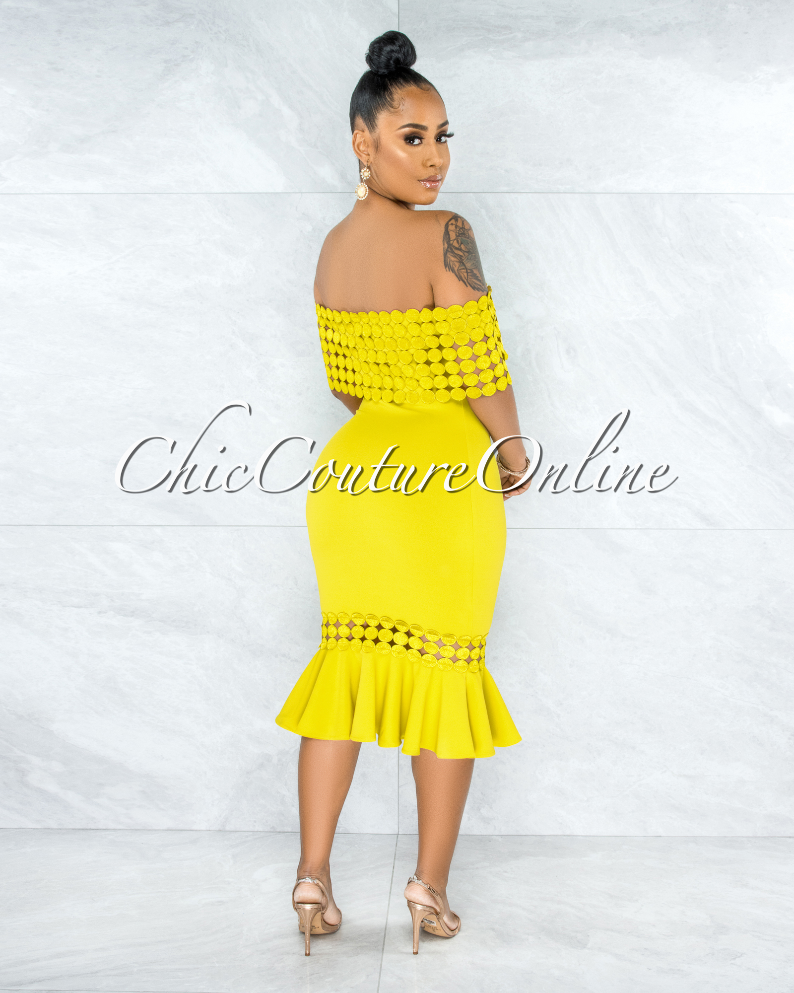 Darlina Lemon Eyelet Ruffle Midi Dress