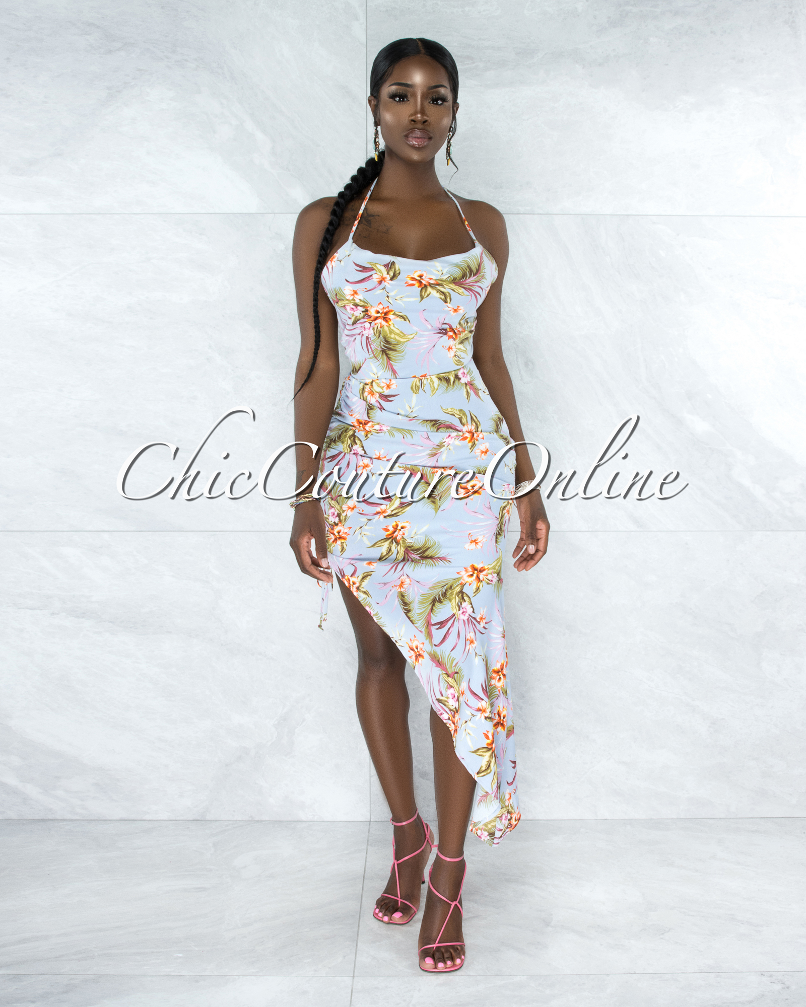 Betsa Baby Blue Tropical Print Ruched Side Asymmetrical Dress