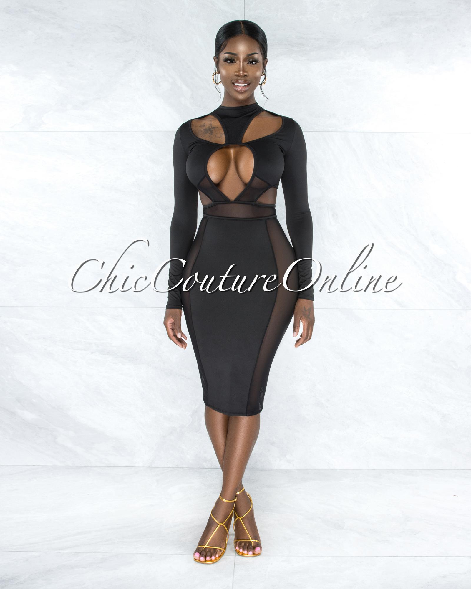 Yerusa Black Mesh Cut Out Midi Dress